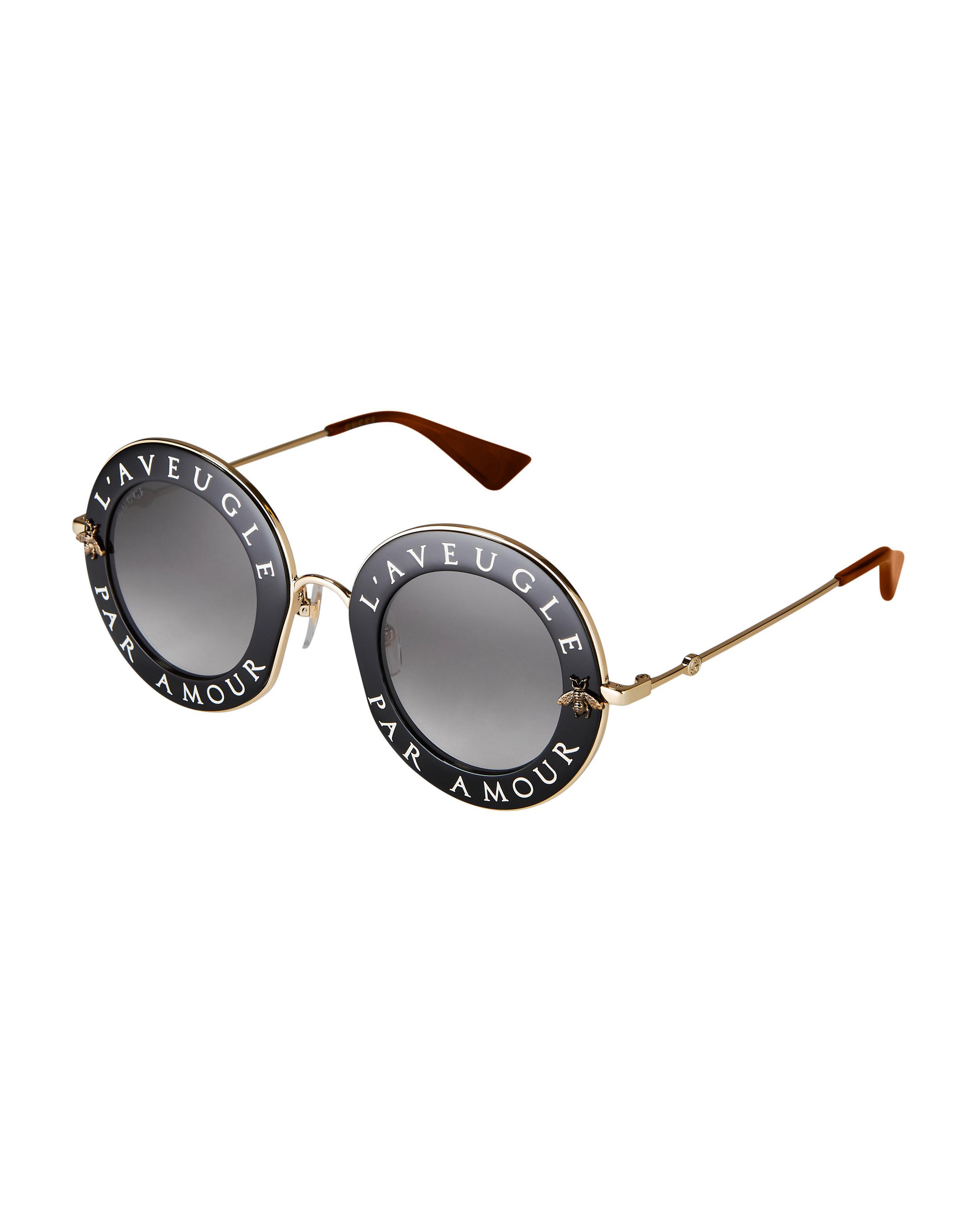 601e5e430d Lyst - Gucci Blind For Love Round Sunglasses in Black