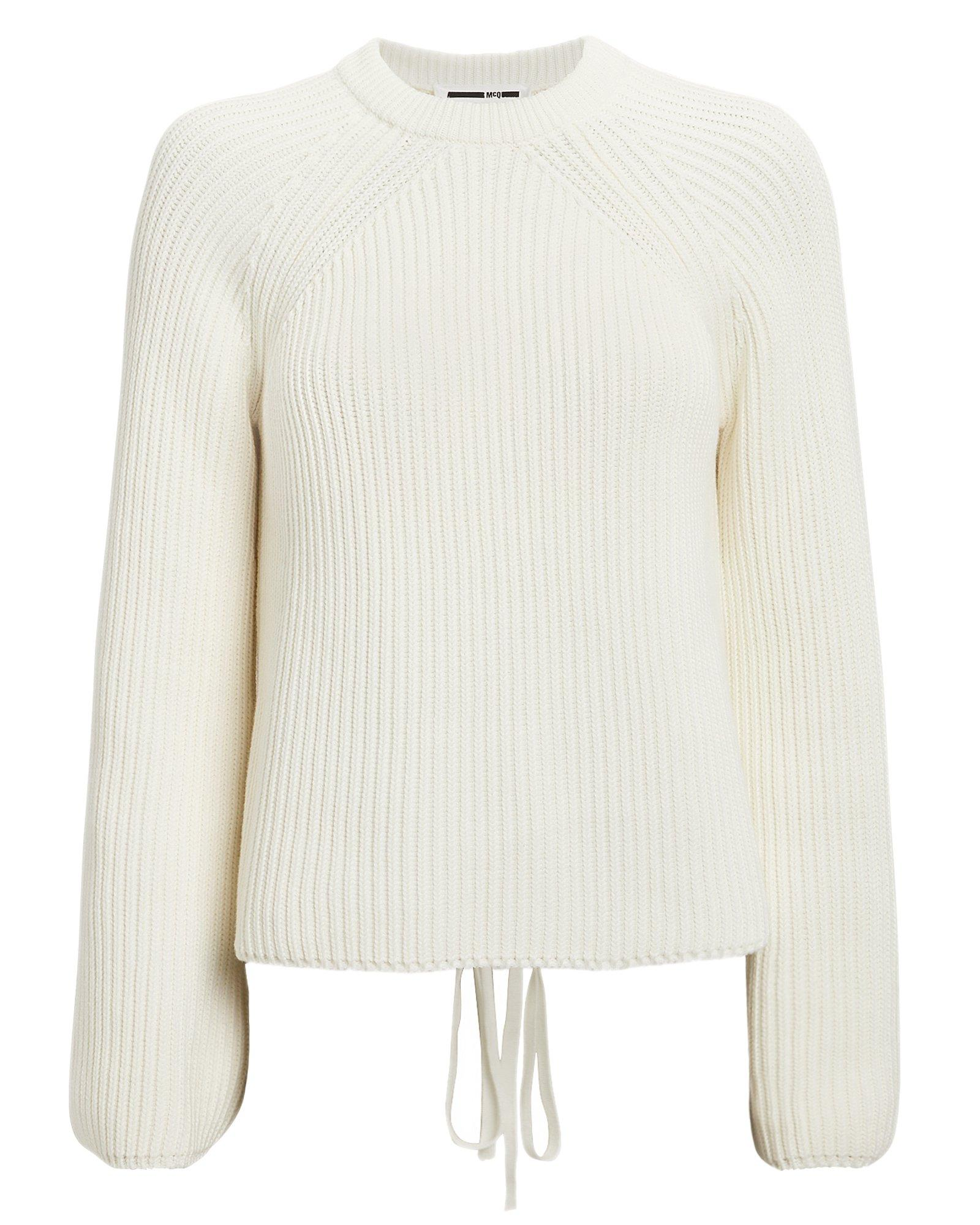 9ebef7f48e McQ Alexander McQueen - White Ivory Lace-up Knit Sweater - Lyst. View  fullscreen