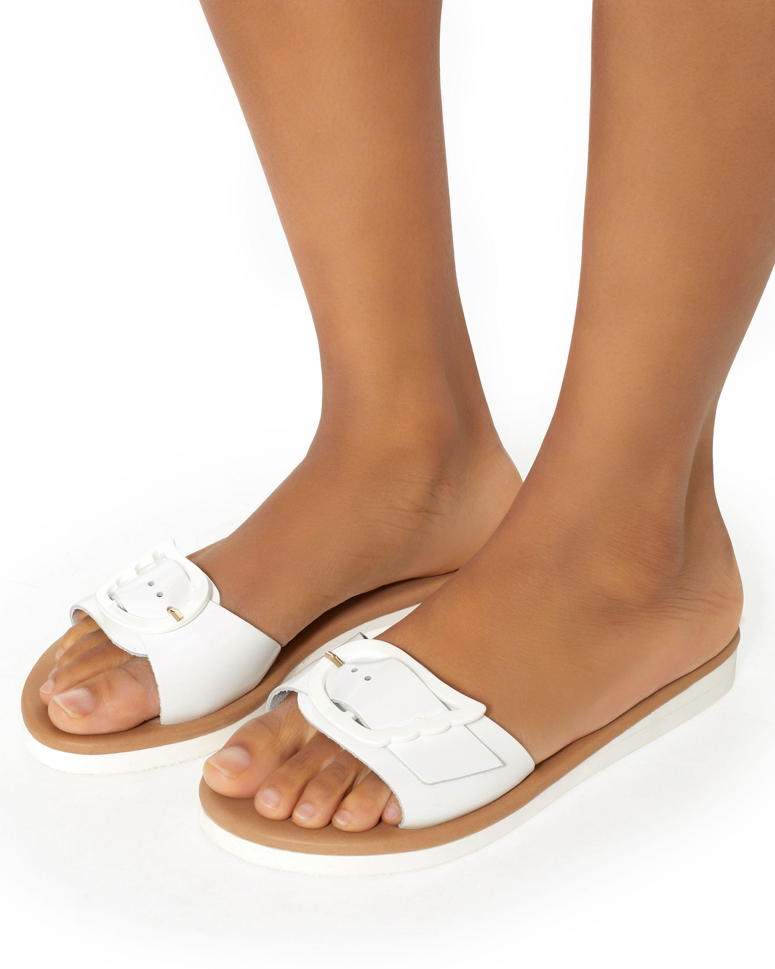 Ancient Greek Sandals Aglaia Buckle Leather Slide Sandals j1ksJb