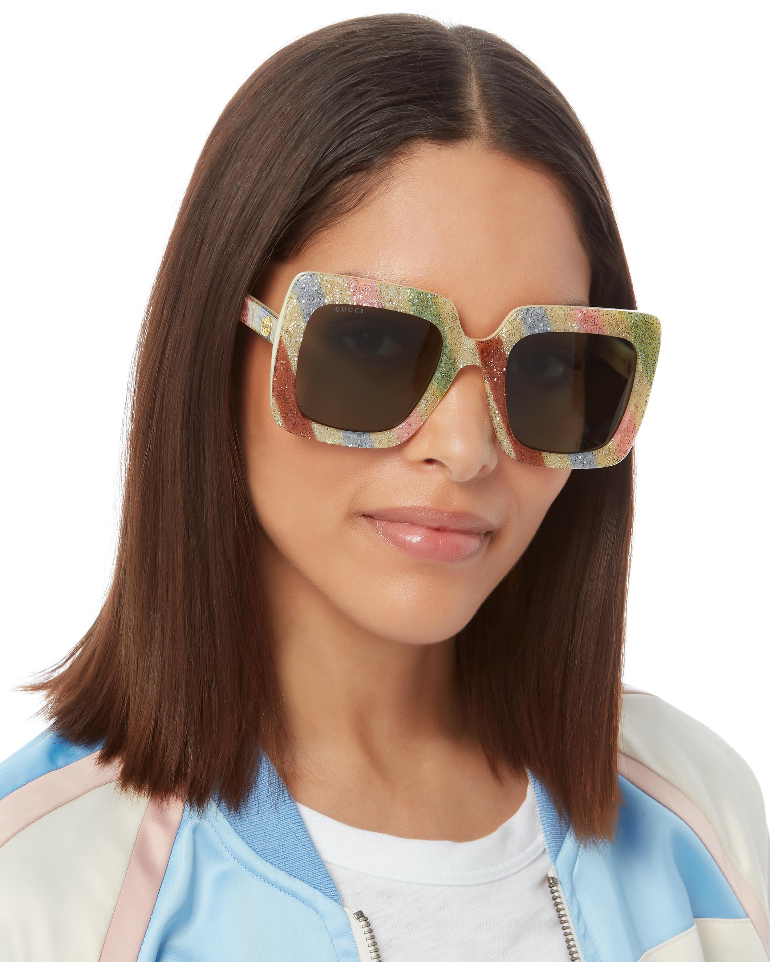 35f304dd49 Lyst - Gucci Oversized Glitter Sunglasses