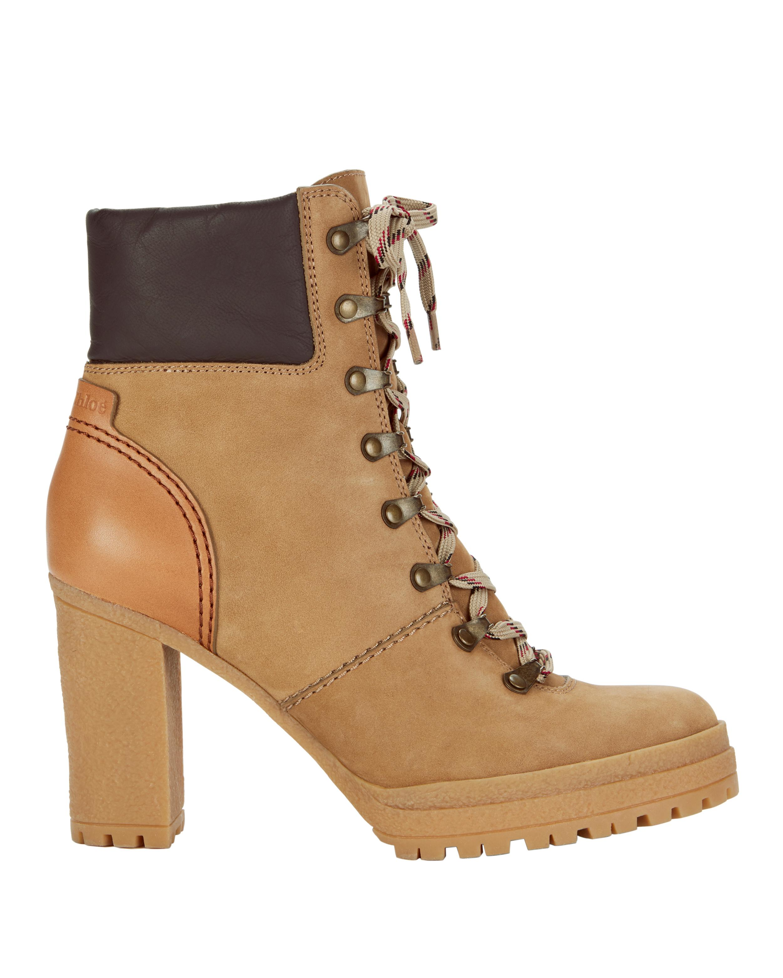 8a102e83ac01 Lyst - See By Chloé Claudia Lace-up Hiker Booties in Natural