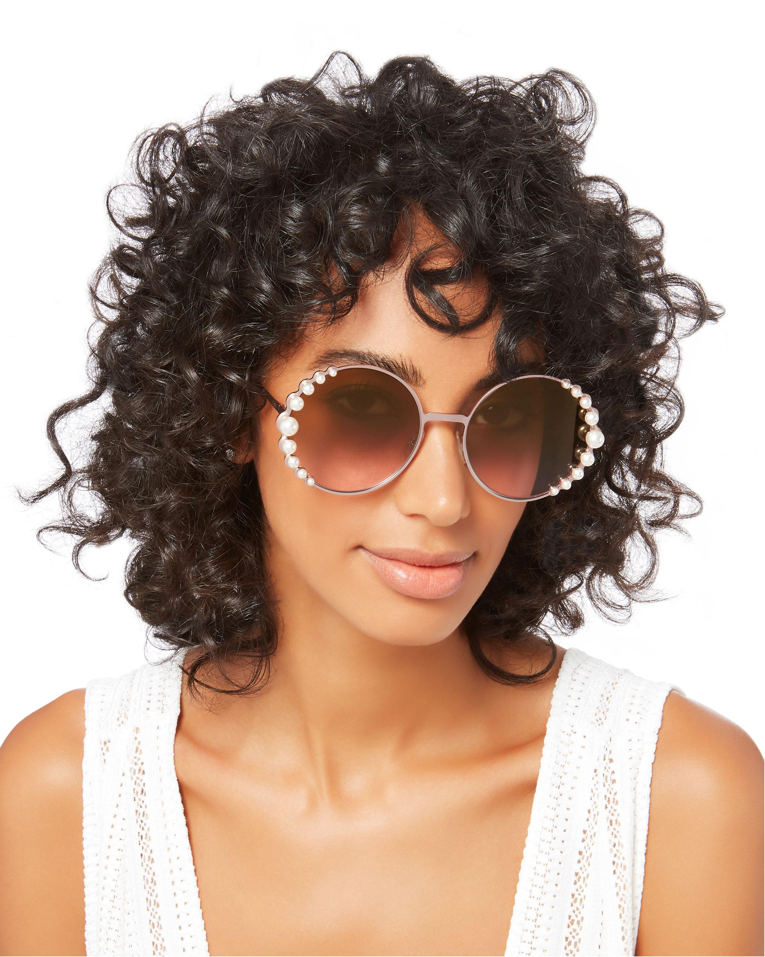 f5ef557c879 Lyst - Fendi Pearl Trim Round Sunglasses in Pink
