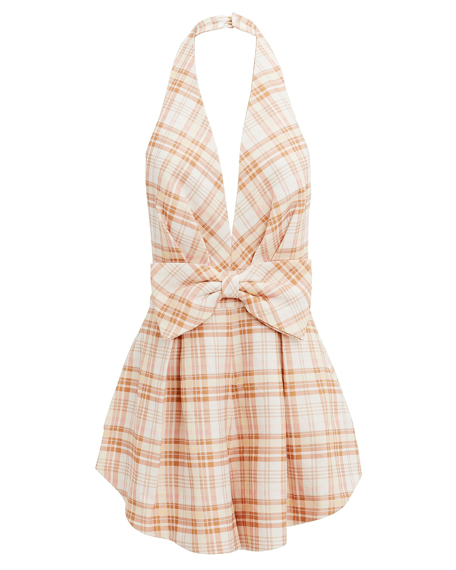 c54ee5940be Lyst - Zimmermann Corsage Plaid Playsuit in Natural
