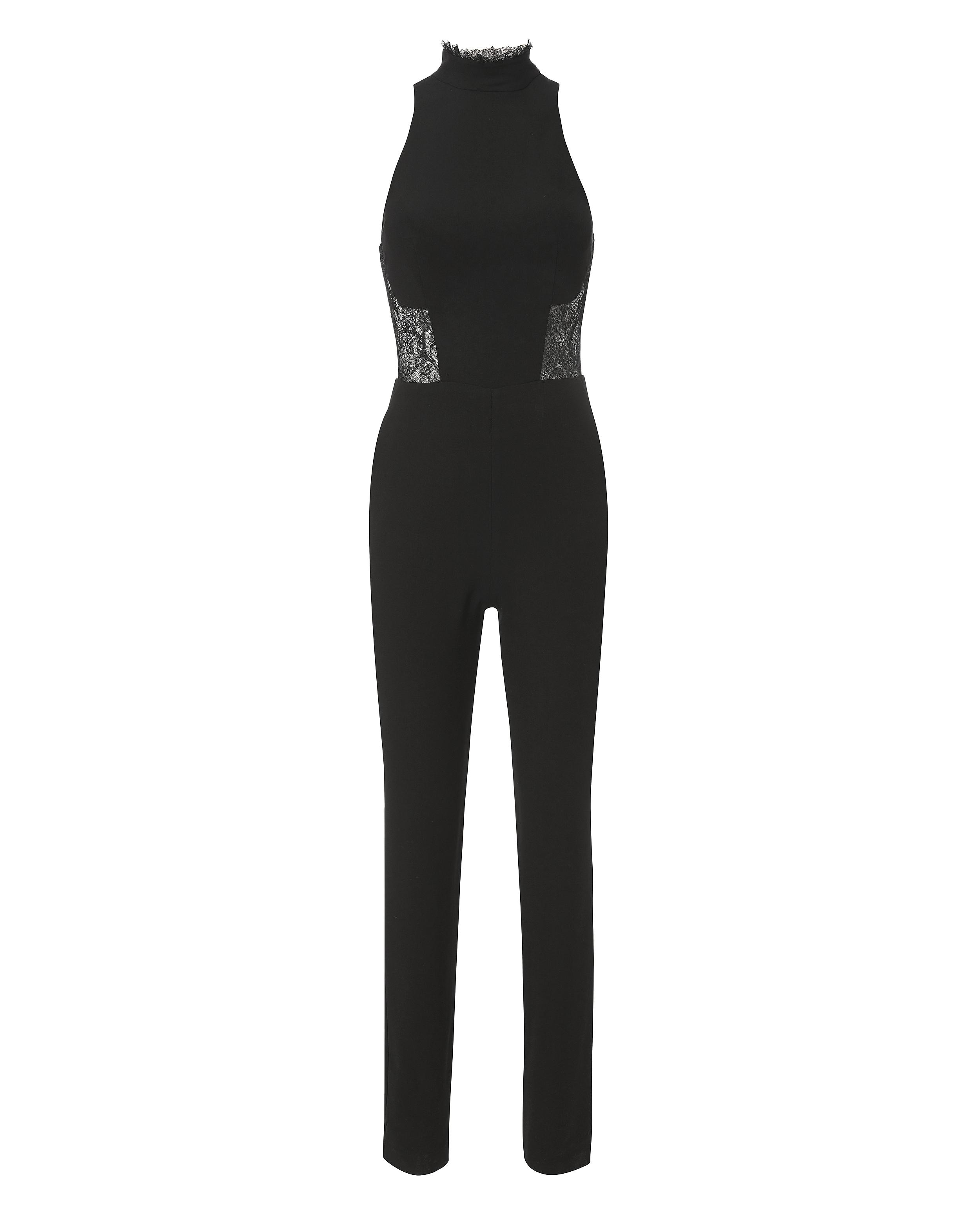 94784559e89b Lyst - Nicholas Mock Neck Lace Inset Jumpsuit in Black
