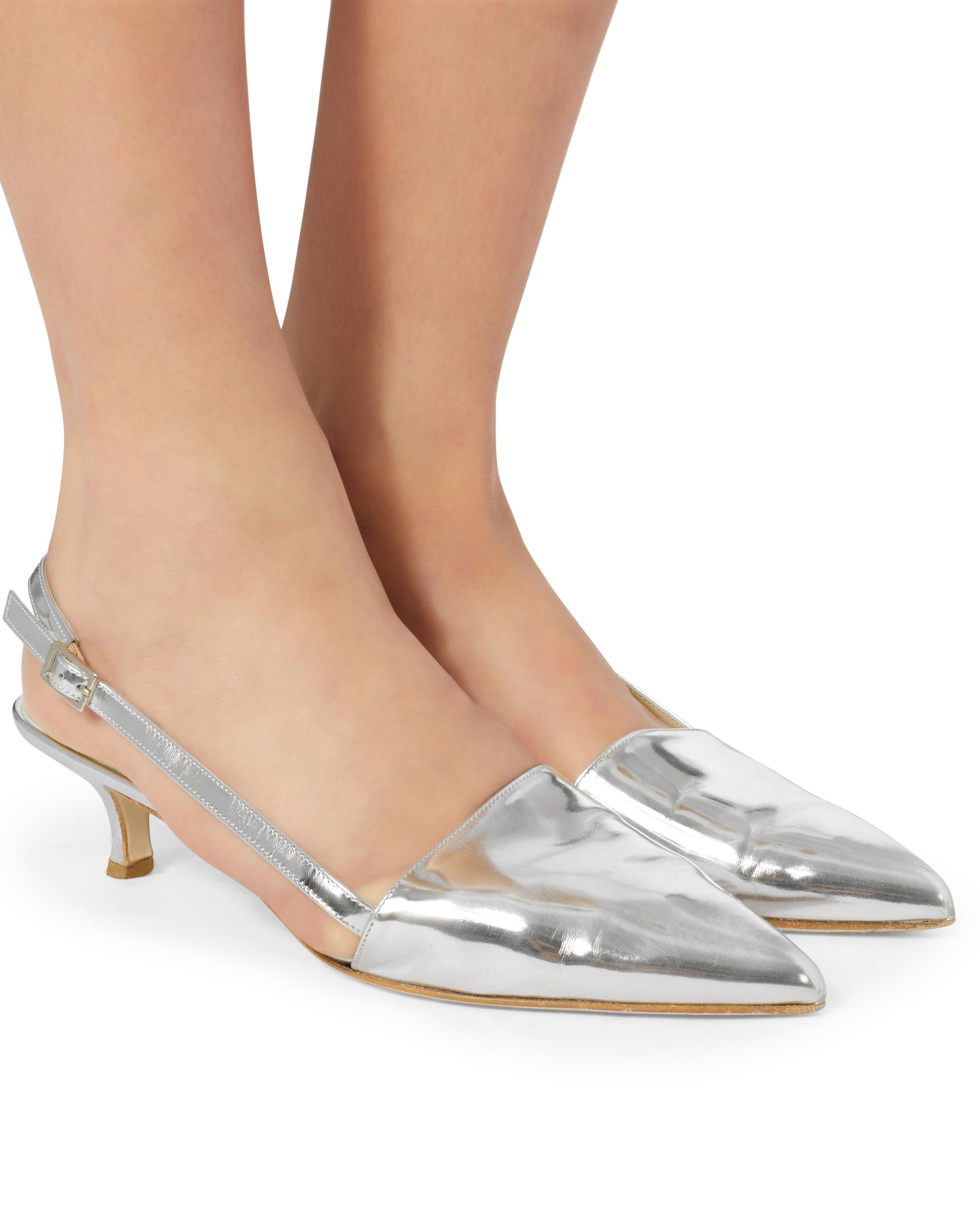 a272e8a17ad Lyst - Tibi Simon Slingback Kitten Heels in Metallic