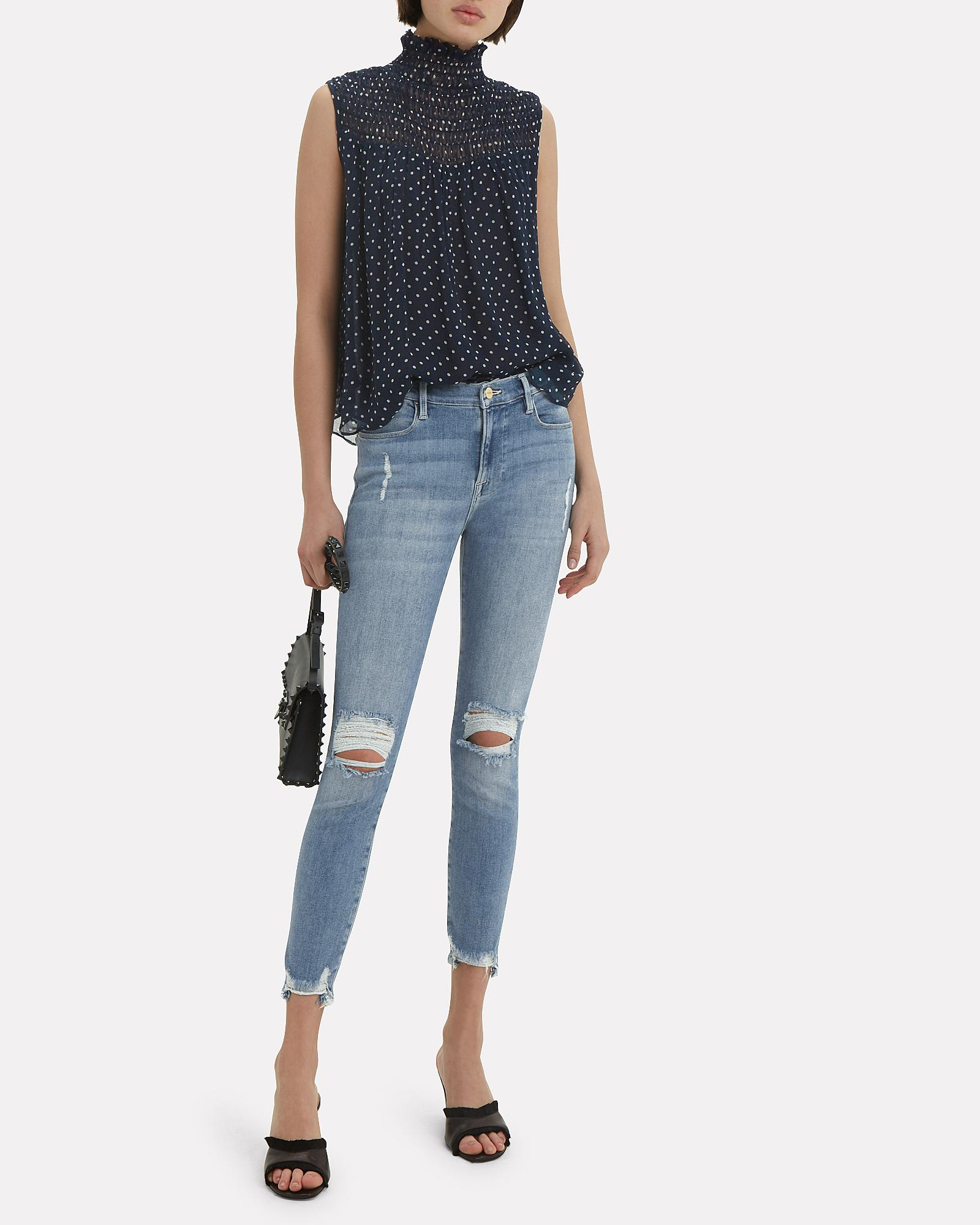 6bc780fa3f6d4f Lyst - FRAME Polka Dot Smocked Navy Top in Blue