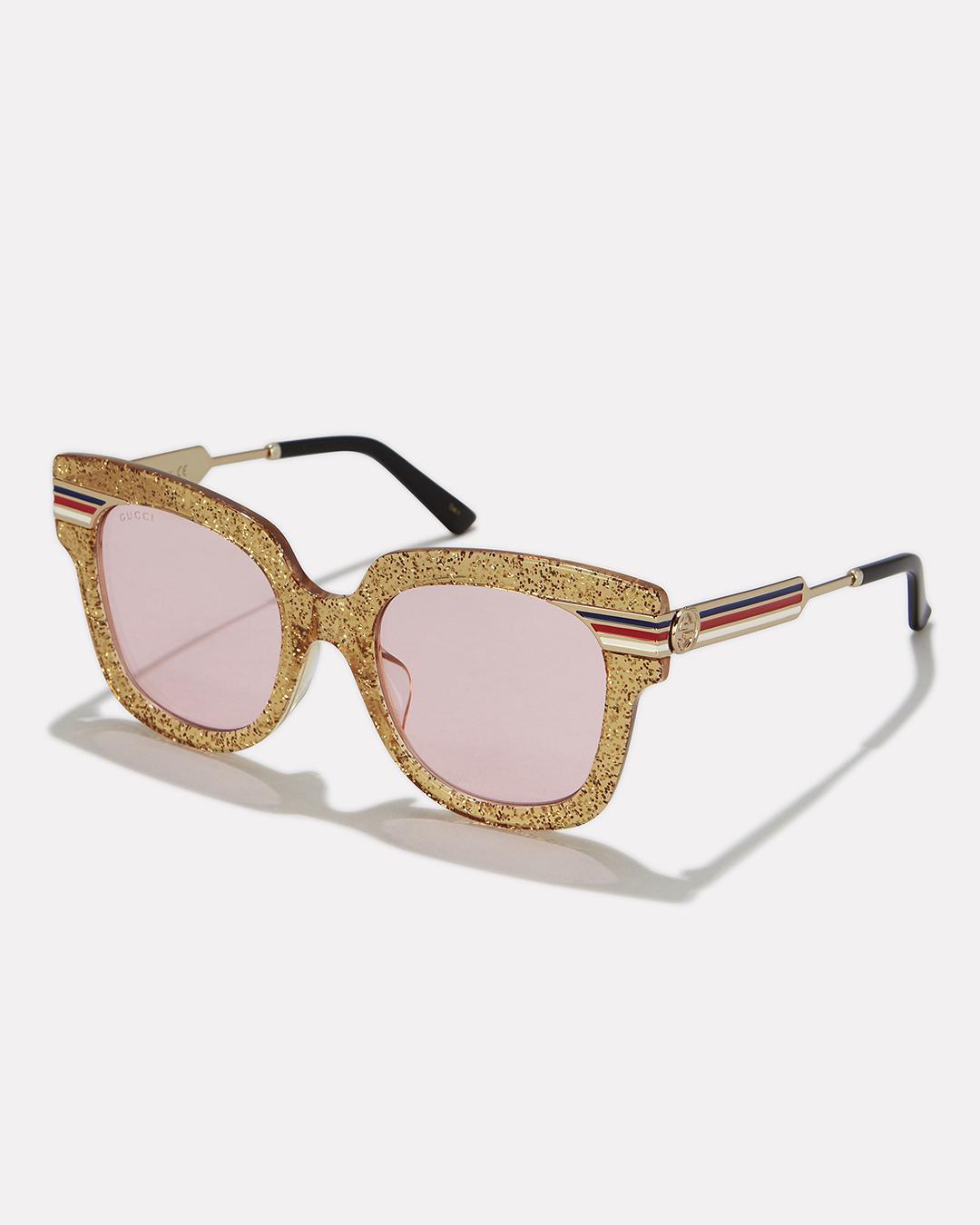 946576aa3bd3d Lyst - Gucci Gold Glitter Pink Lens Sunglasses in Metallic