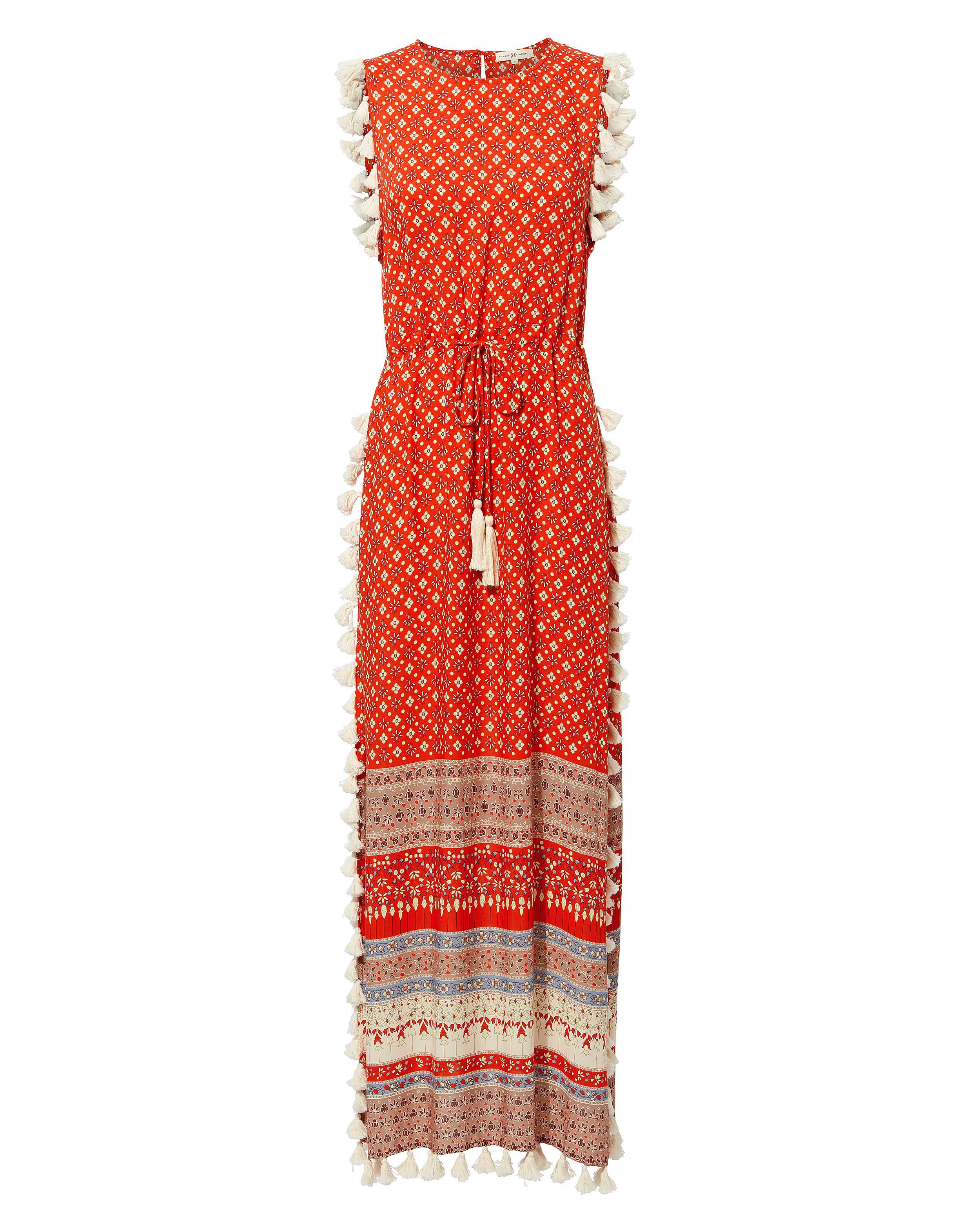 1be5b36c22705 Nightcap Pom Pom Fringe Maxi Dress in Red - Lyst