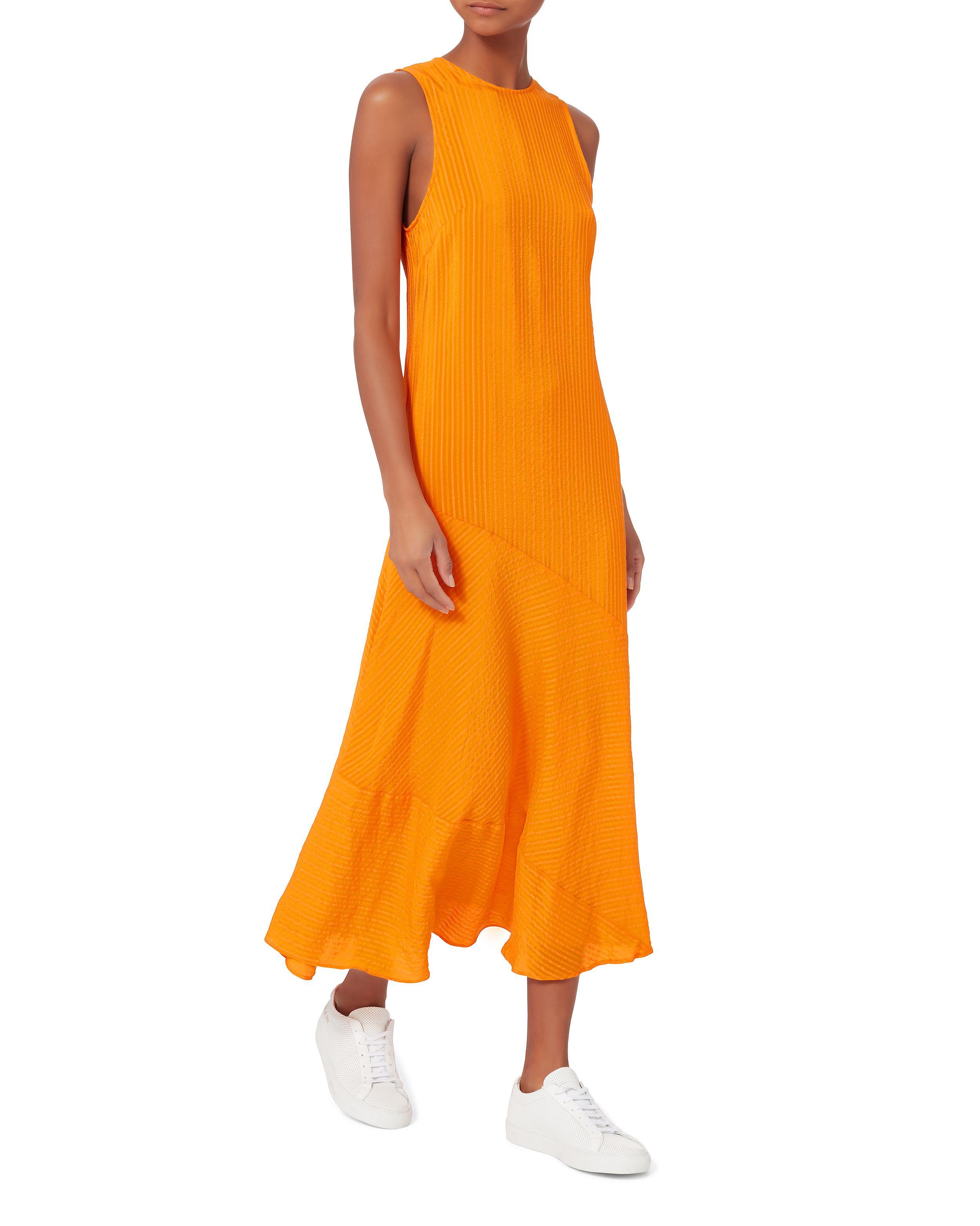 565b9d7d Ganni Wilkie Seersucker Turmeric Dress in Orange - Lyst