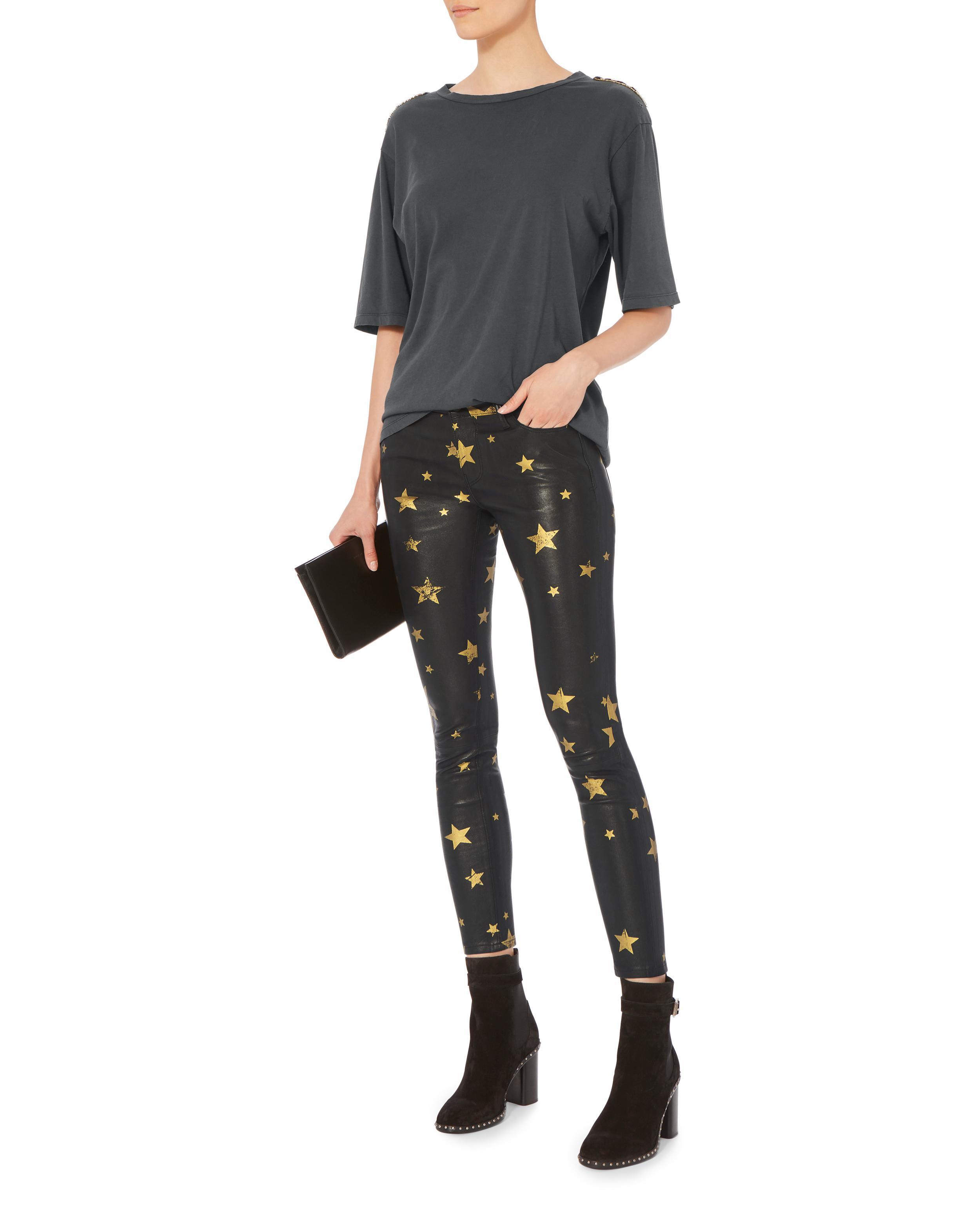 b1fdc77d0157 RTA Prince Gold Star Leather Pants in Black - Lyst