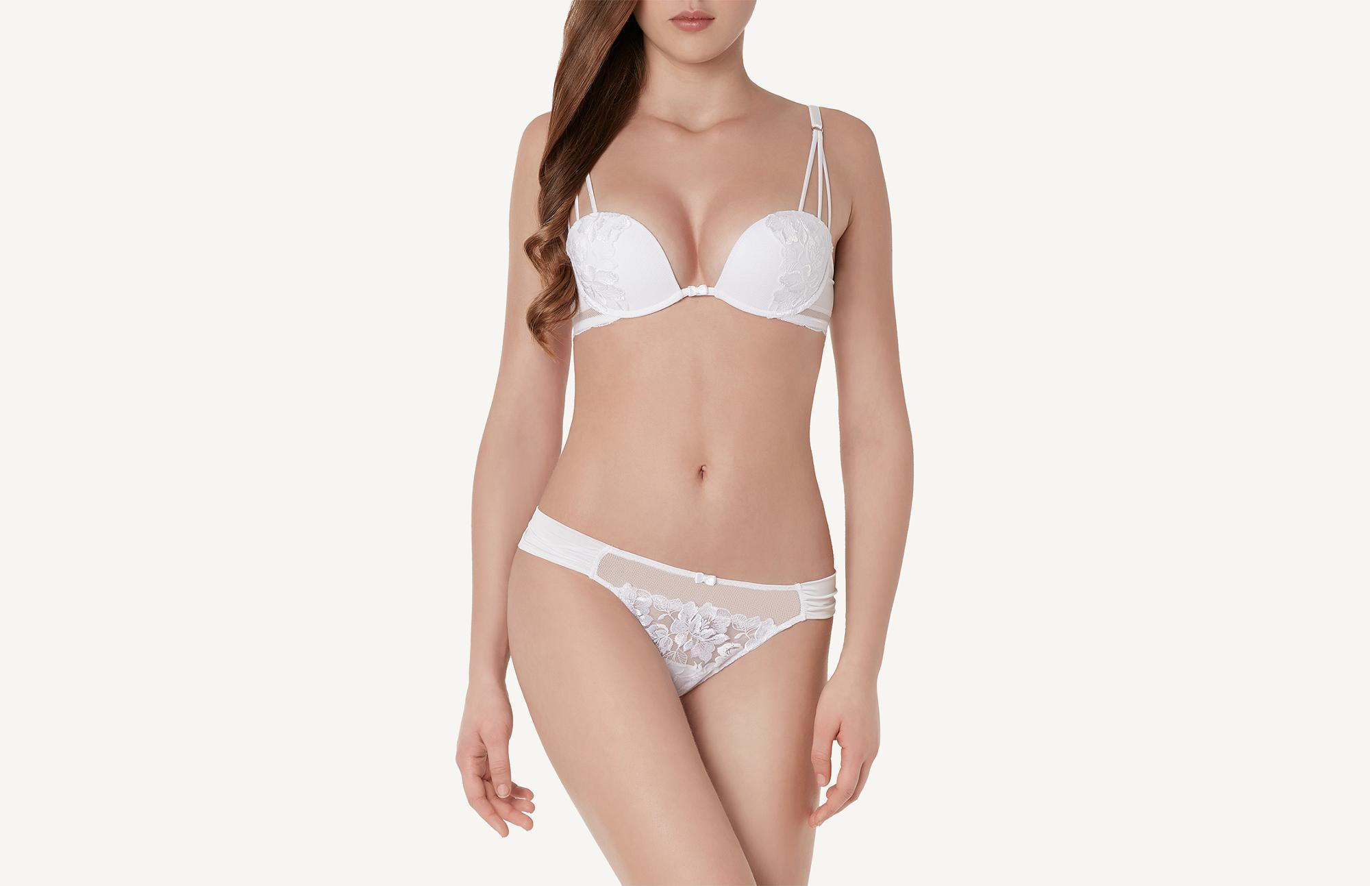 a2ba144d2a5ca Lyst - Intimissimi Blooming Embroidery Elena Balconette Bra in White