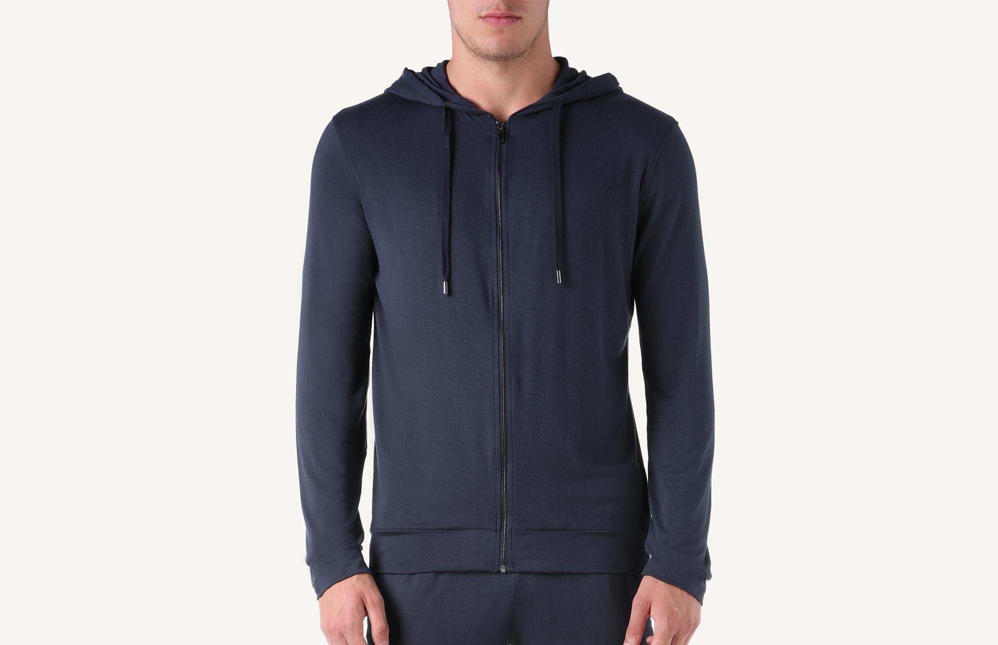 ec2ced36ab20 Lyst - Intimissimi Silk And Modal Zip Hoodie in Blue for Men