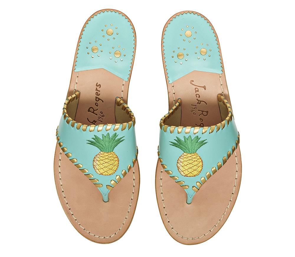 Jack Rogers Pineapple Leather Thong Sandals pPwTp