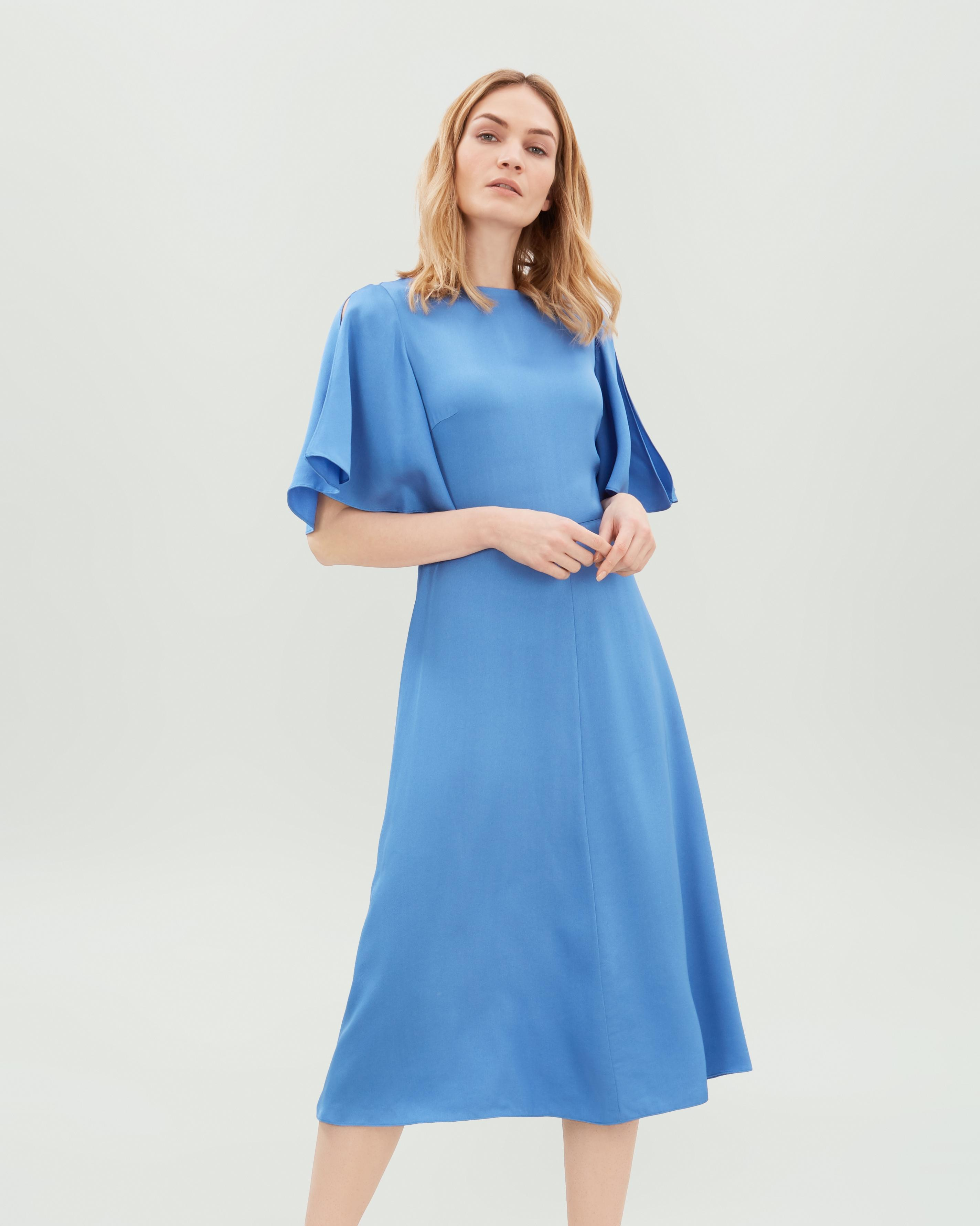 Lyst - Jaeger Fit And Flare Dress in Blue 18ce3a16f
