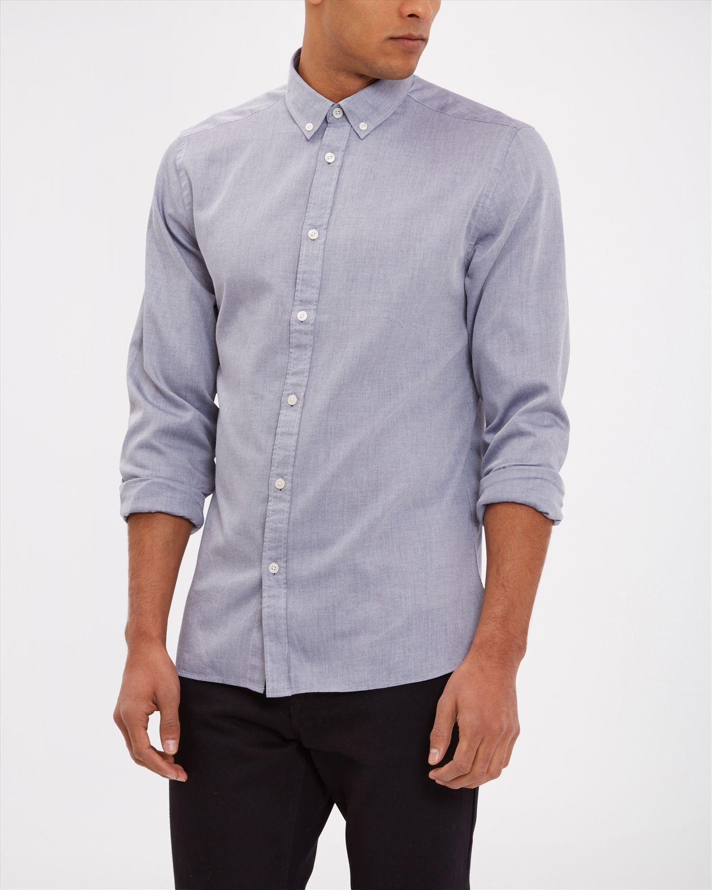 Lyst jaeger brushed twill shirt in blue for men for Brushed cotton twill shirt