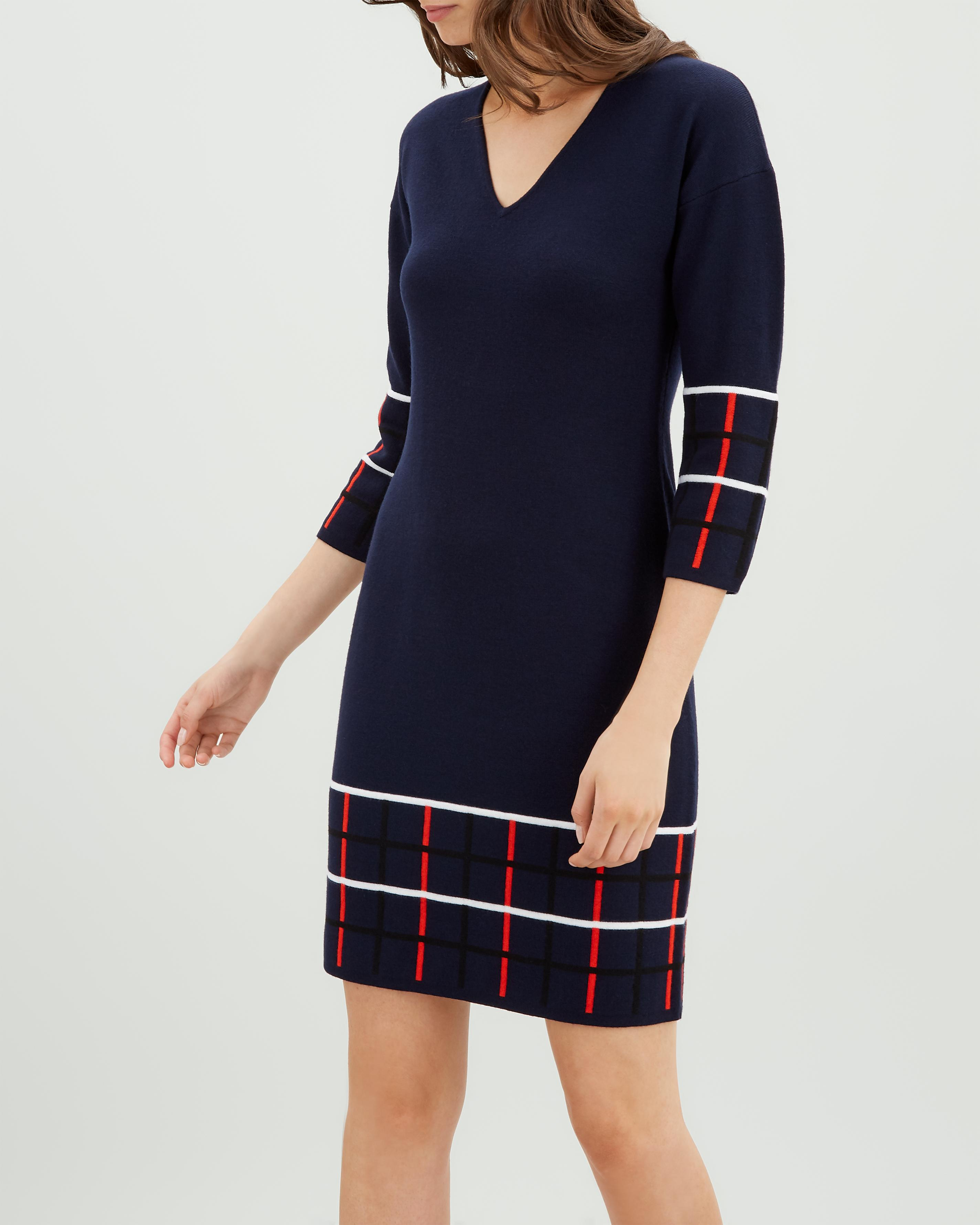 Jaeger Wool Check Knit Shift Dress in Blue - Lyst d6830a351