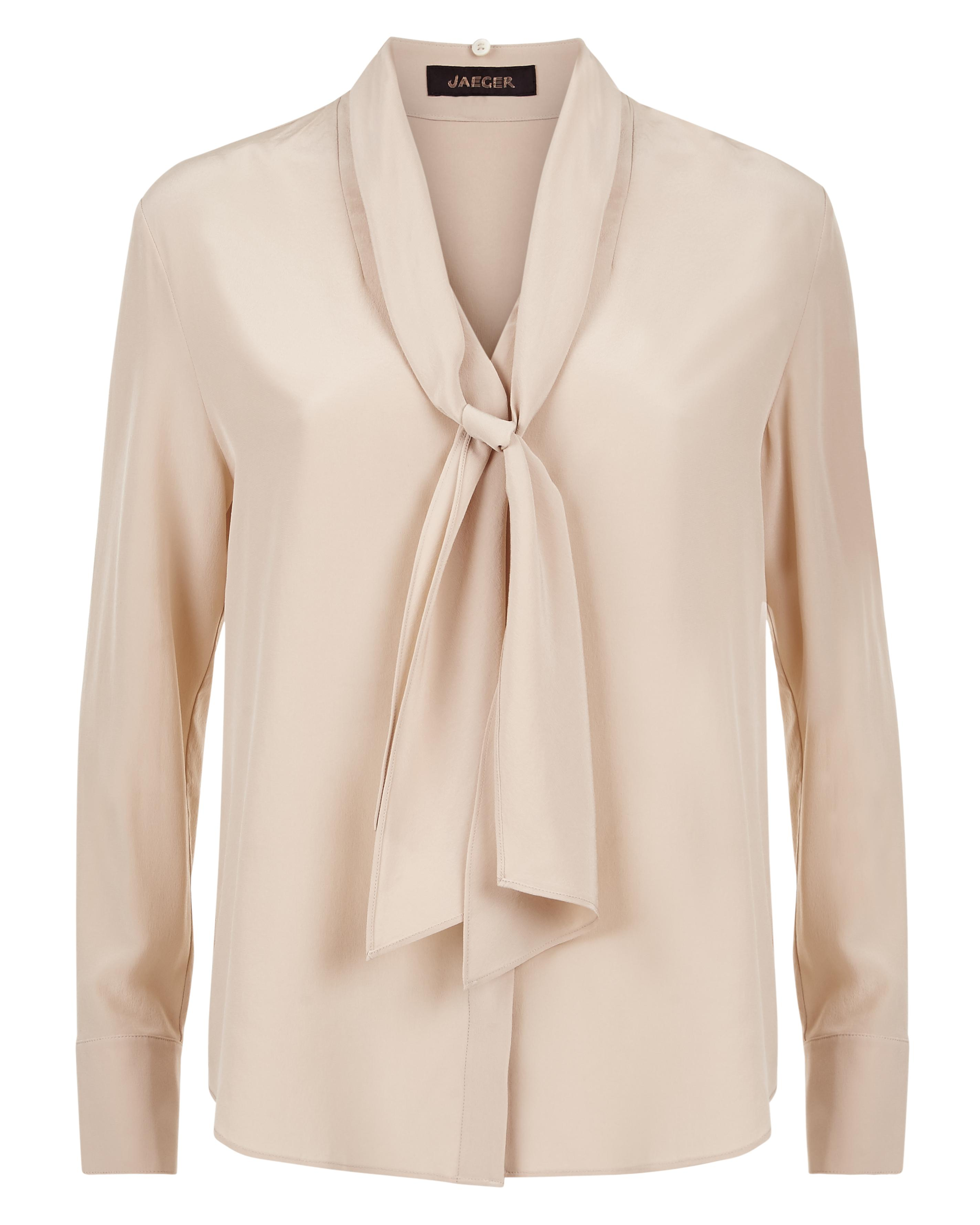 32a5048763f51 Jaeger Silk Tie-neck Blouse in Natural - Lyst