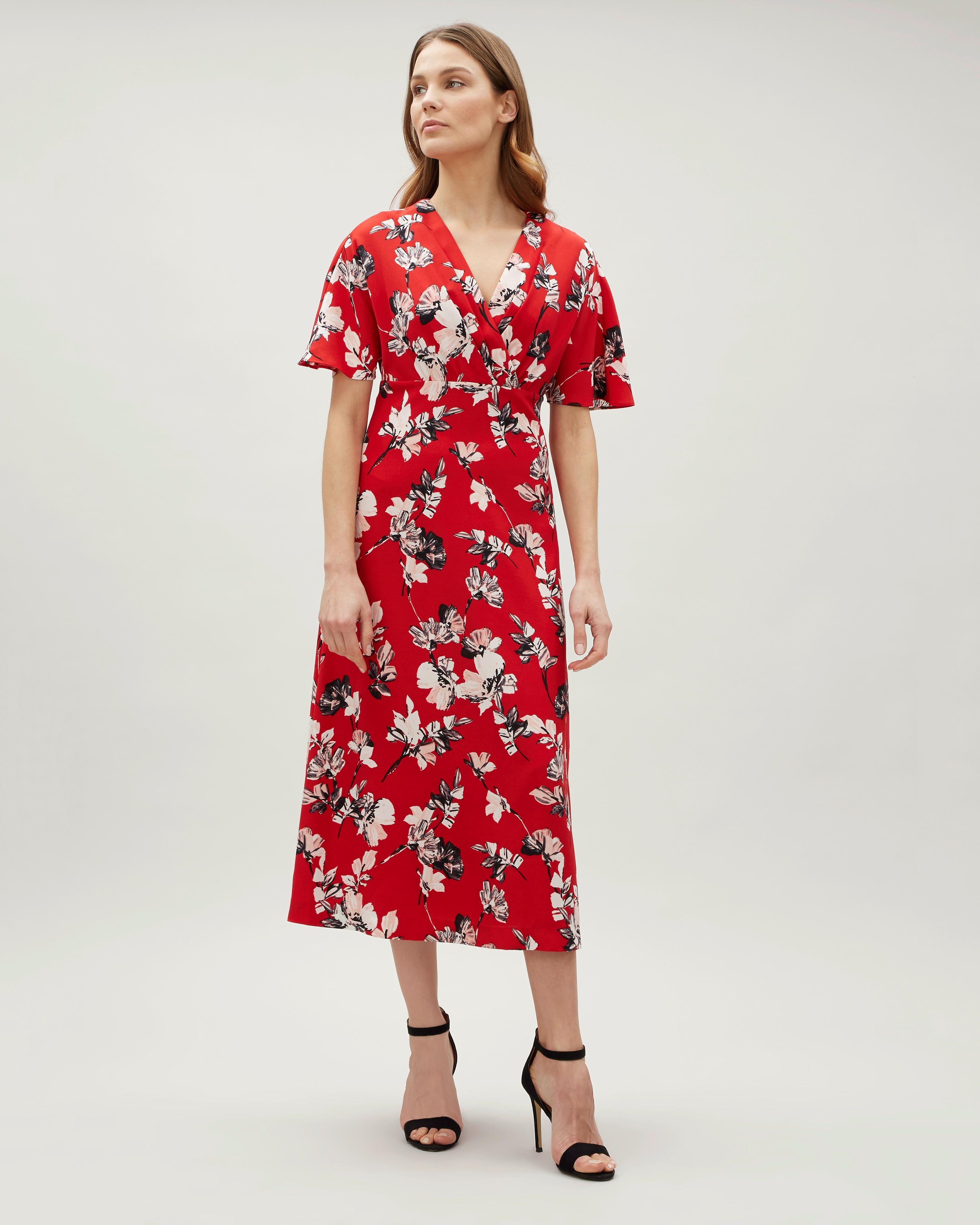 Lyst - Jaeger Brushstroke Floral Wrap Dress in Red 49968ac96