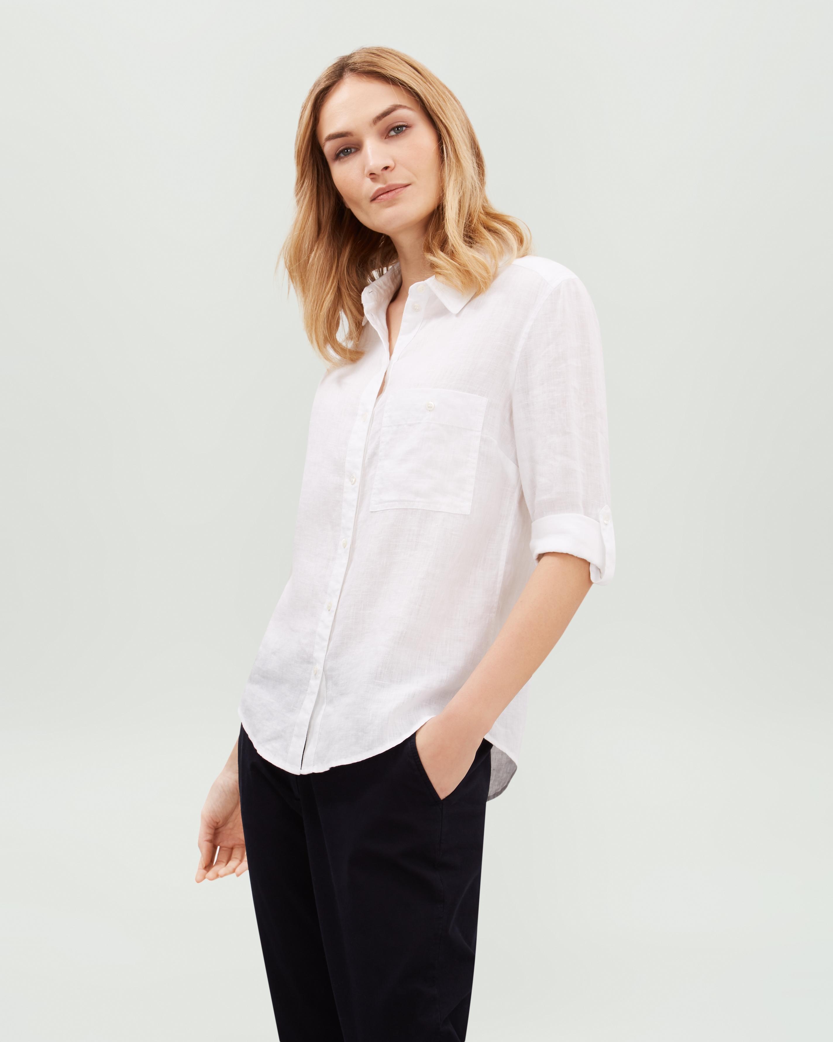 66490a13b8c820 Lyst - Jaeger Linen Roll Sleeve Shirt in White