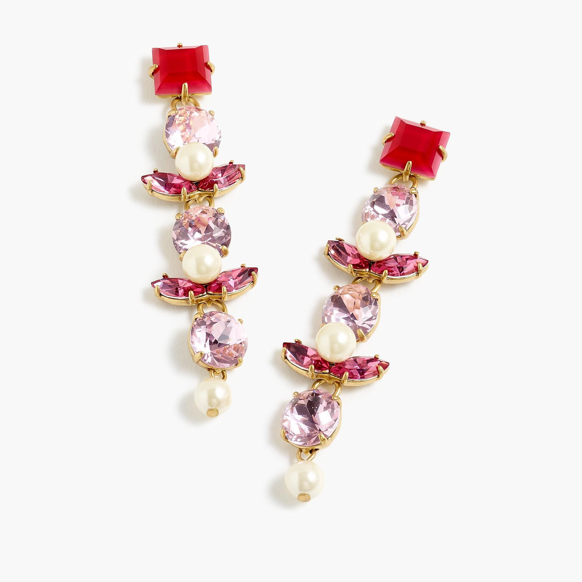 J Crew Women S Pink Crystal And Pearl Clip On Earrings