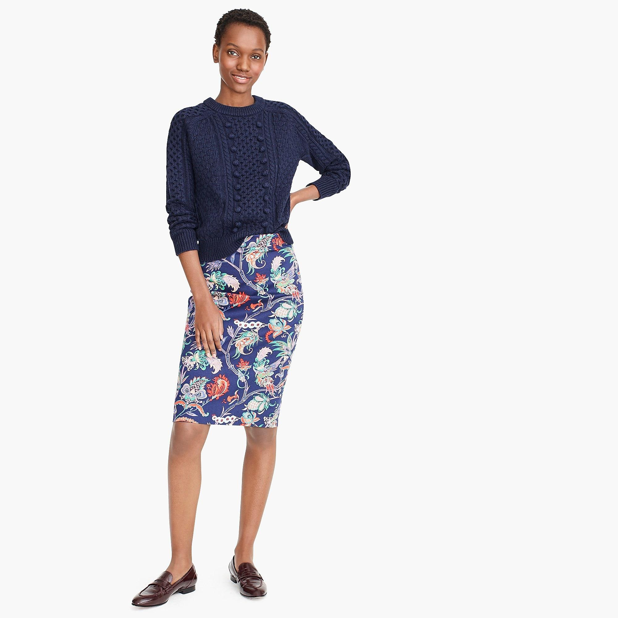 05fdd47cf787 J.Crew. Women's Blue Petite No. 2 Pencil Skirt In Floral Two-way Stretch  Cotton
