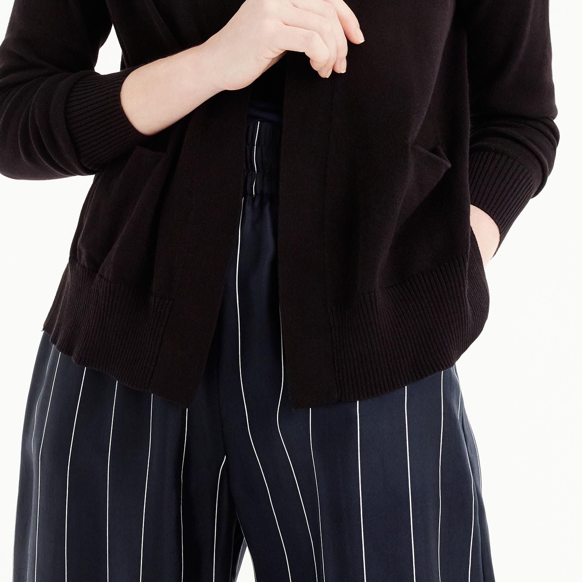 J.crew Open-front Cardigan Sweater in Black | Lyst