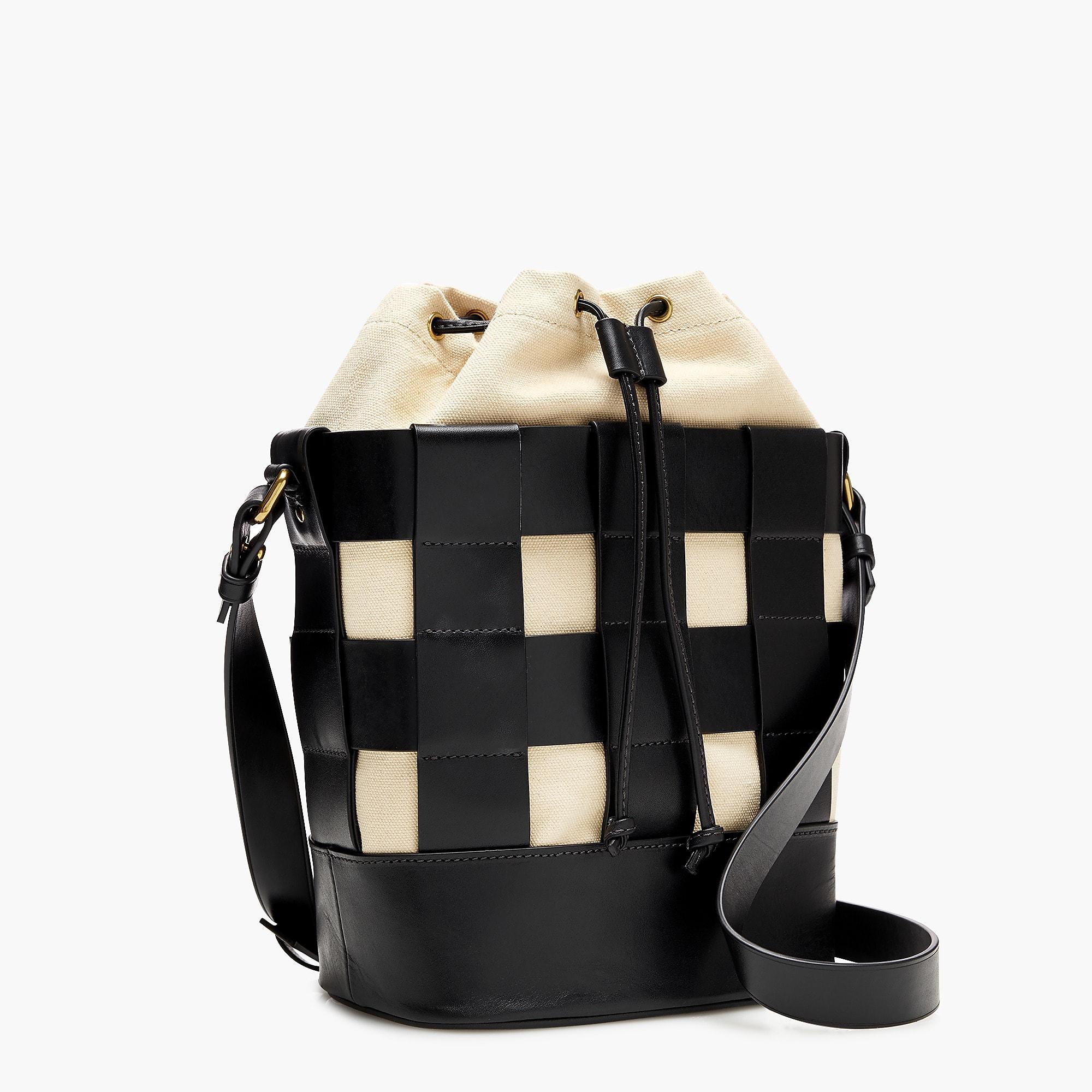 23c4d3599c Lyst - J.Crew Woven Leather-and-canvas Bucket Bag in Black