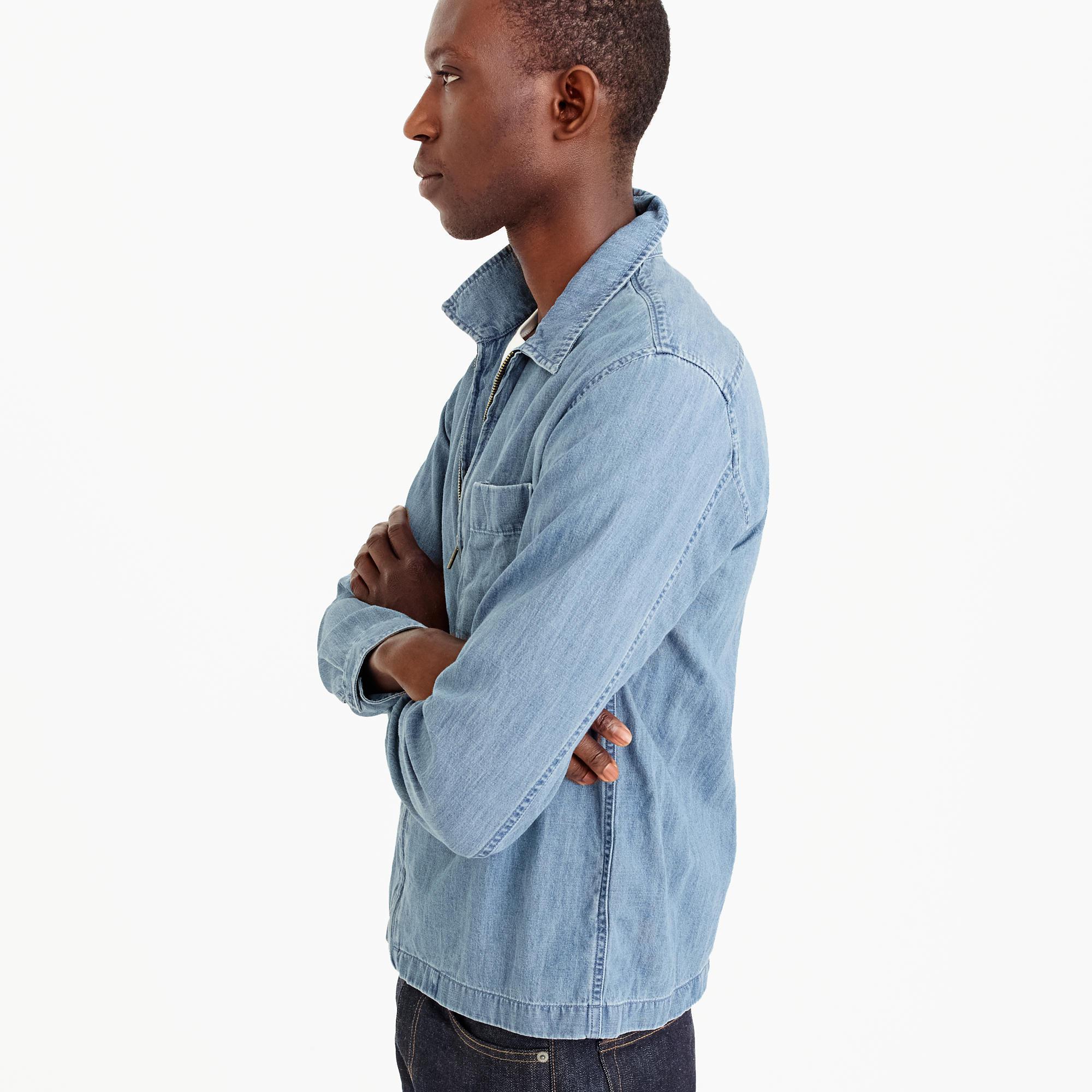 d0c233d641f J.Crew Lightweight Denim Zip-front Overshirt in Blue for Men - Lyst