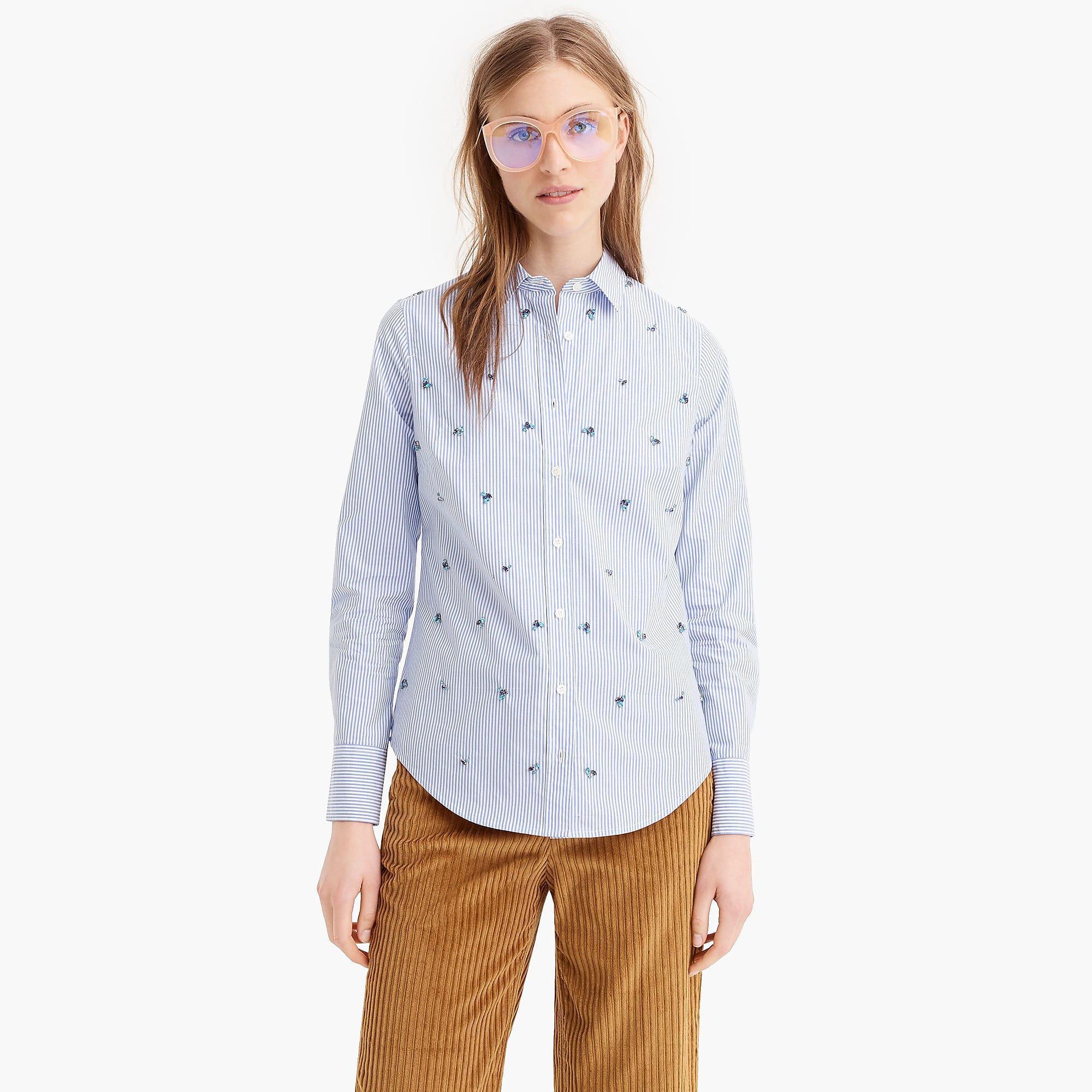 0a4bcd052eaf J.Crew Embellished Slim Stretch Perfect Shirt In Stripe in Blue - Lyst
