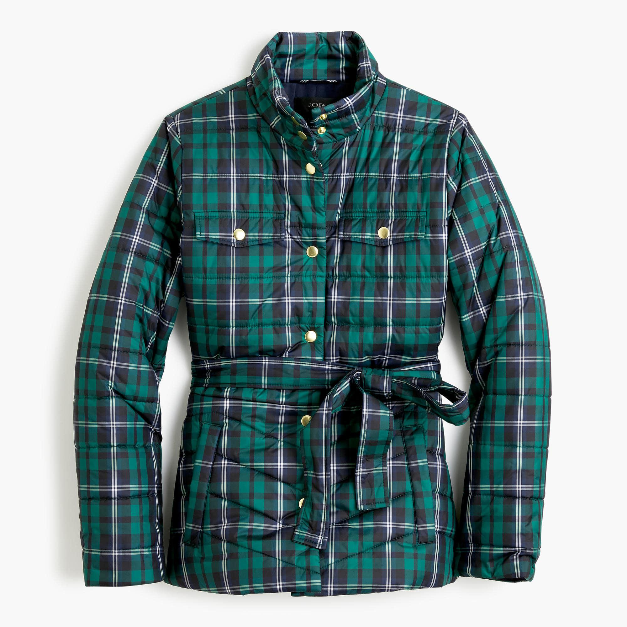J Crew Plaid Belted Puffer Jacket In Green Lyst