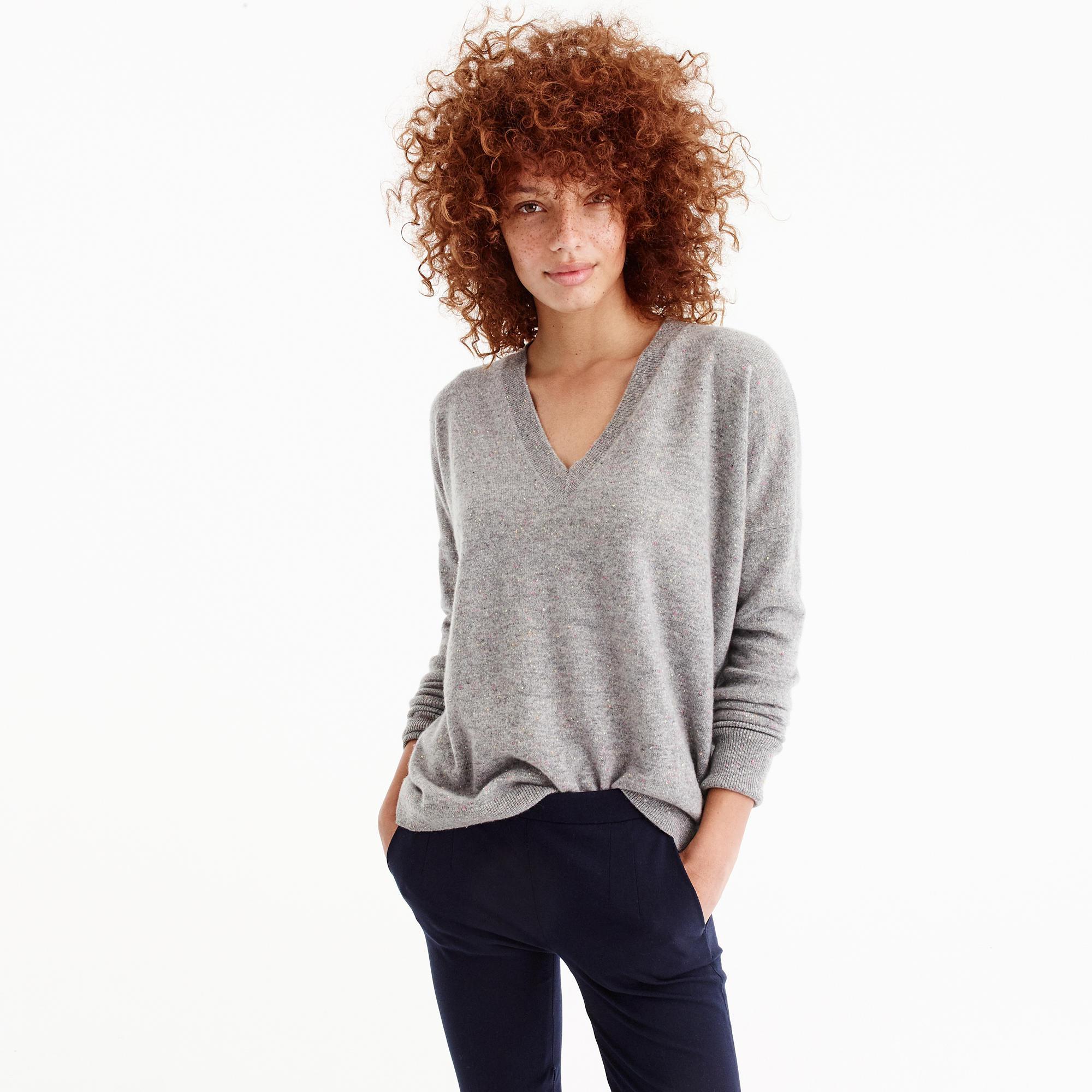 c083a66cbdf6 Lyst - J.Crew V-neck Boyfriend Sweater In Donegal Everyday Cashmere ...