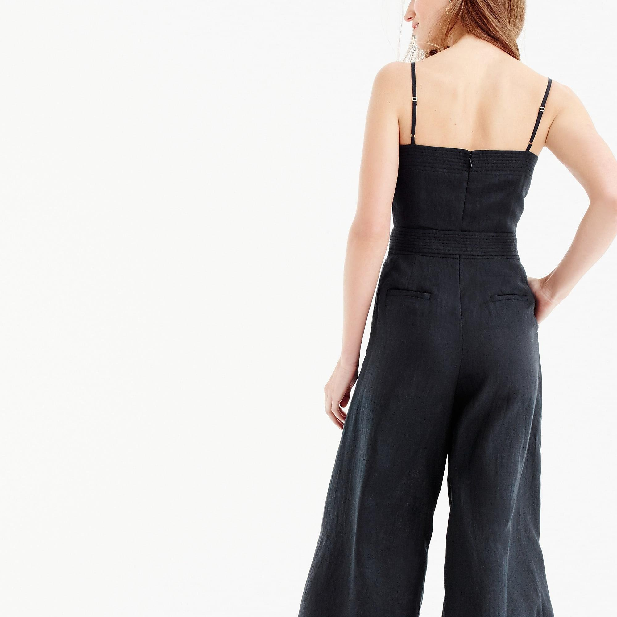 3d49defabbe5 Lyst - J.Crew Linen Jumpsuit With Tie in Black