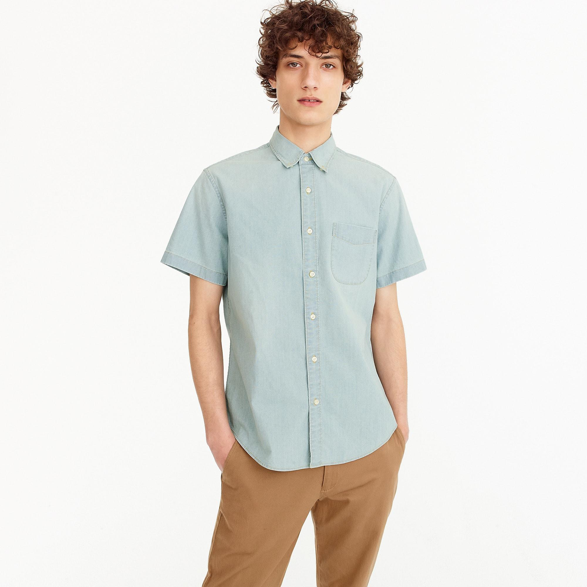 57c8775454f3 J.Crew Stretch Short-sleeve Shirt In Light Wash Chambray in Blue for ...