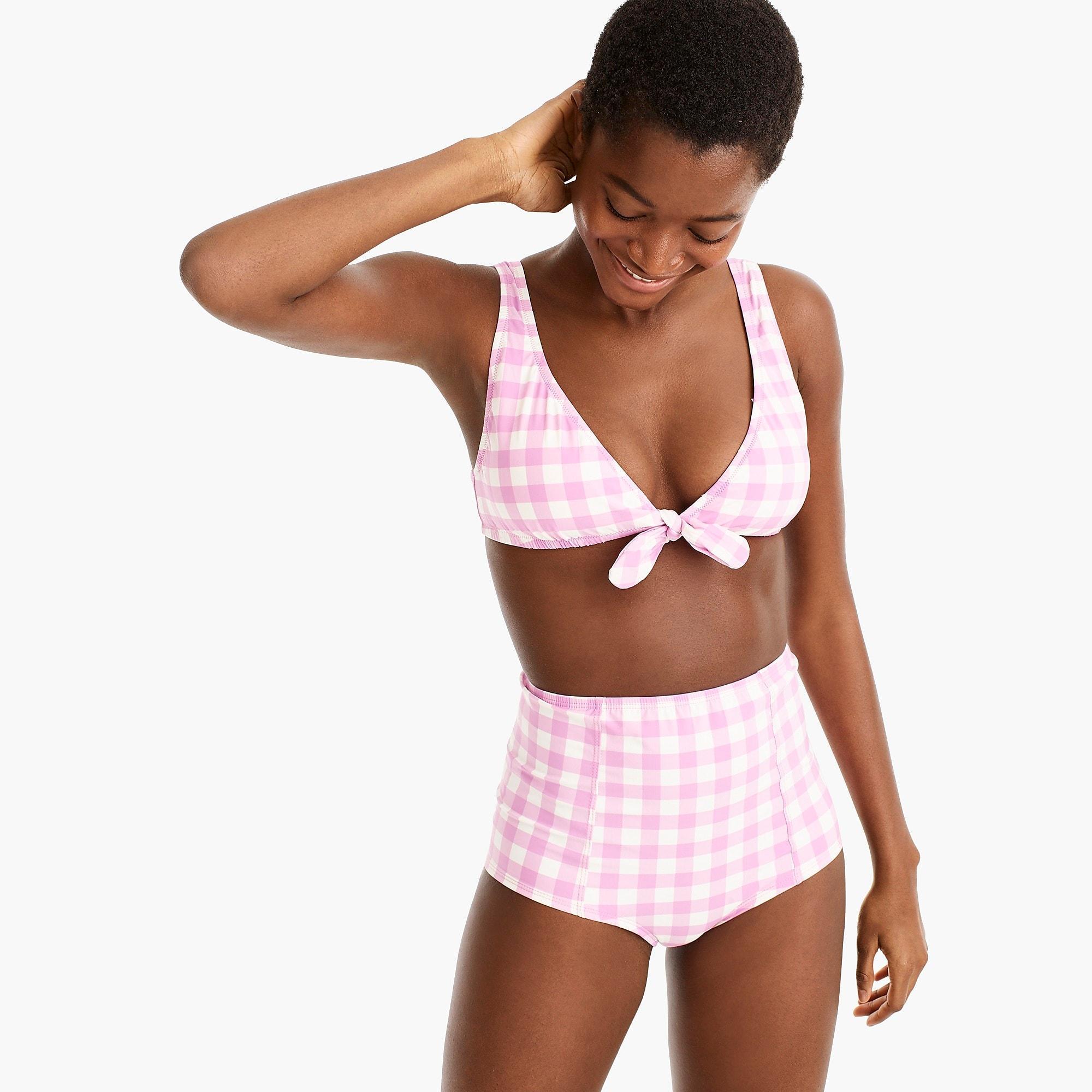e13429cd6f J.Crew. Women's Tie-front Scoopback Bikini Top In Oversized Matte Gingham