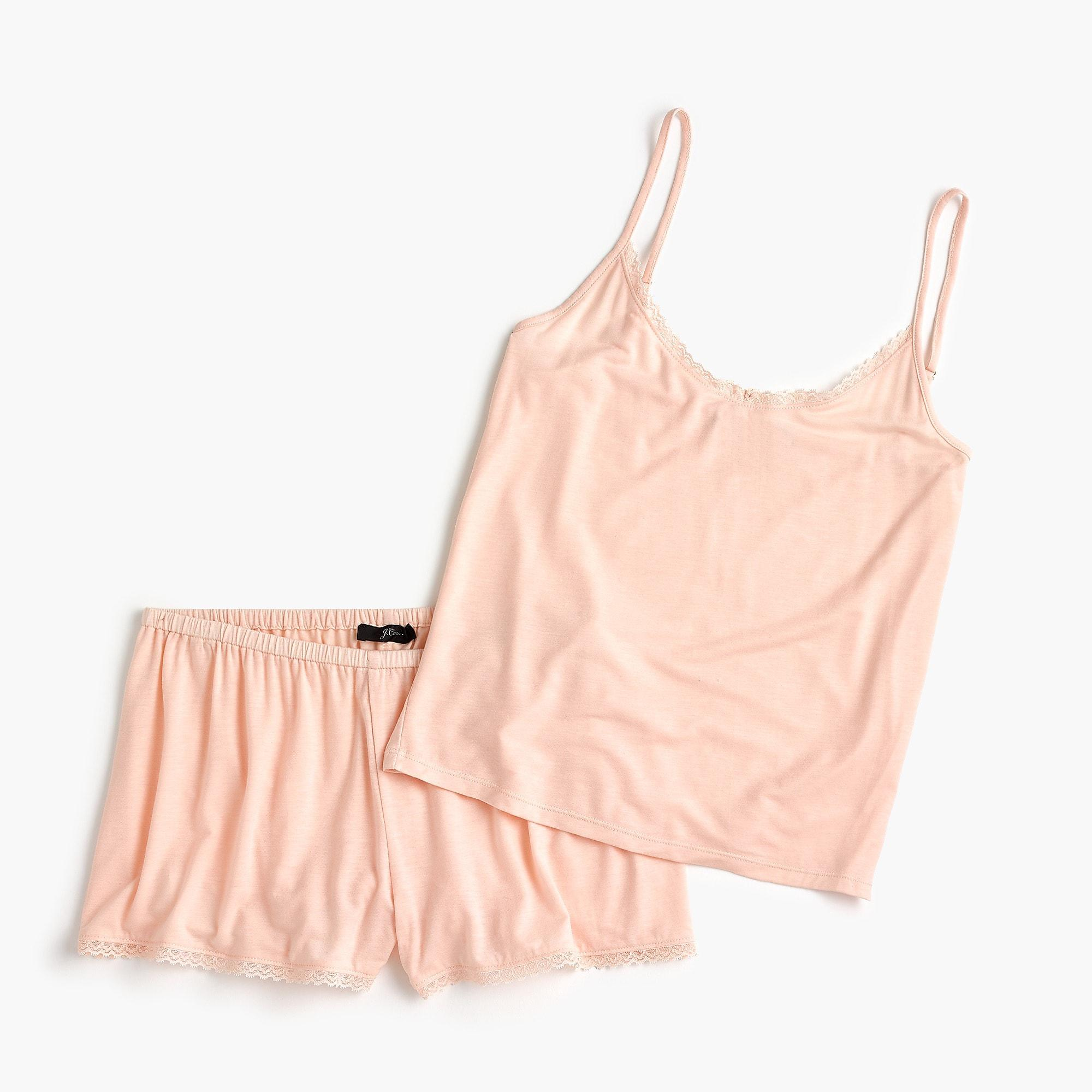 e87a460bd3 Lyst - J.Crew Camisole Pajama Set In Midnight Jersey in Pink