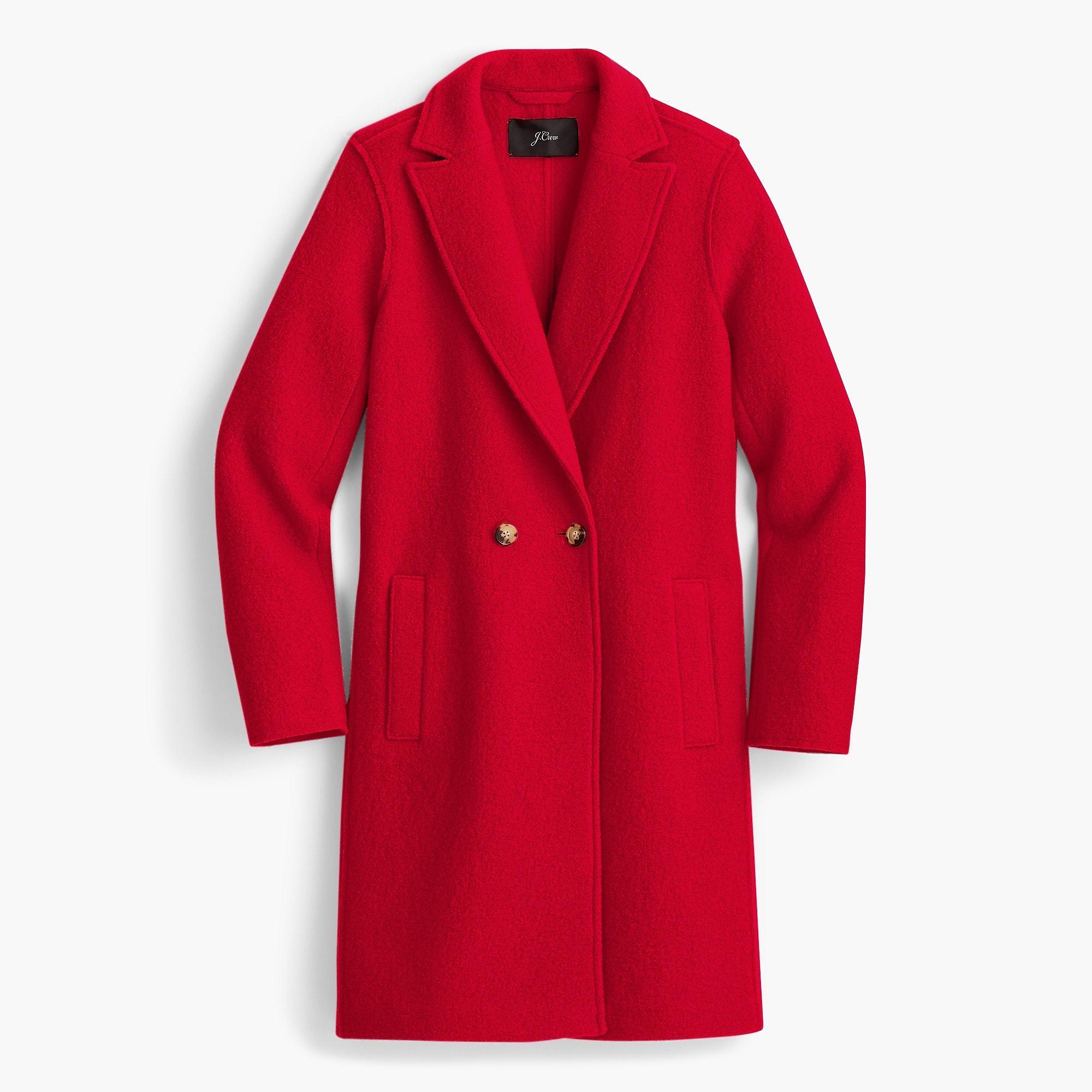 3b319efc8a8b6 Lyst - J.Crew Daphne Topcoat In Italian Boiled Wool in Red