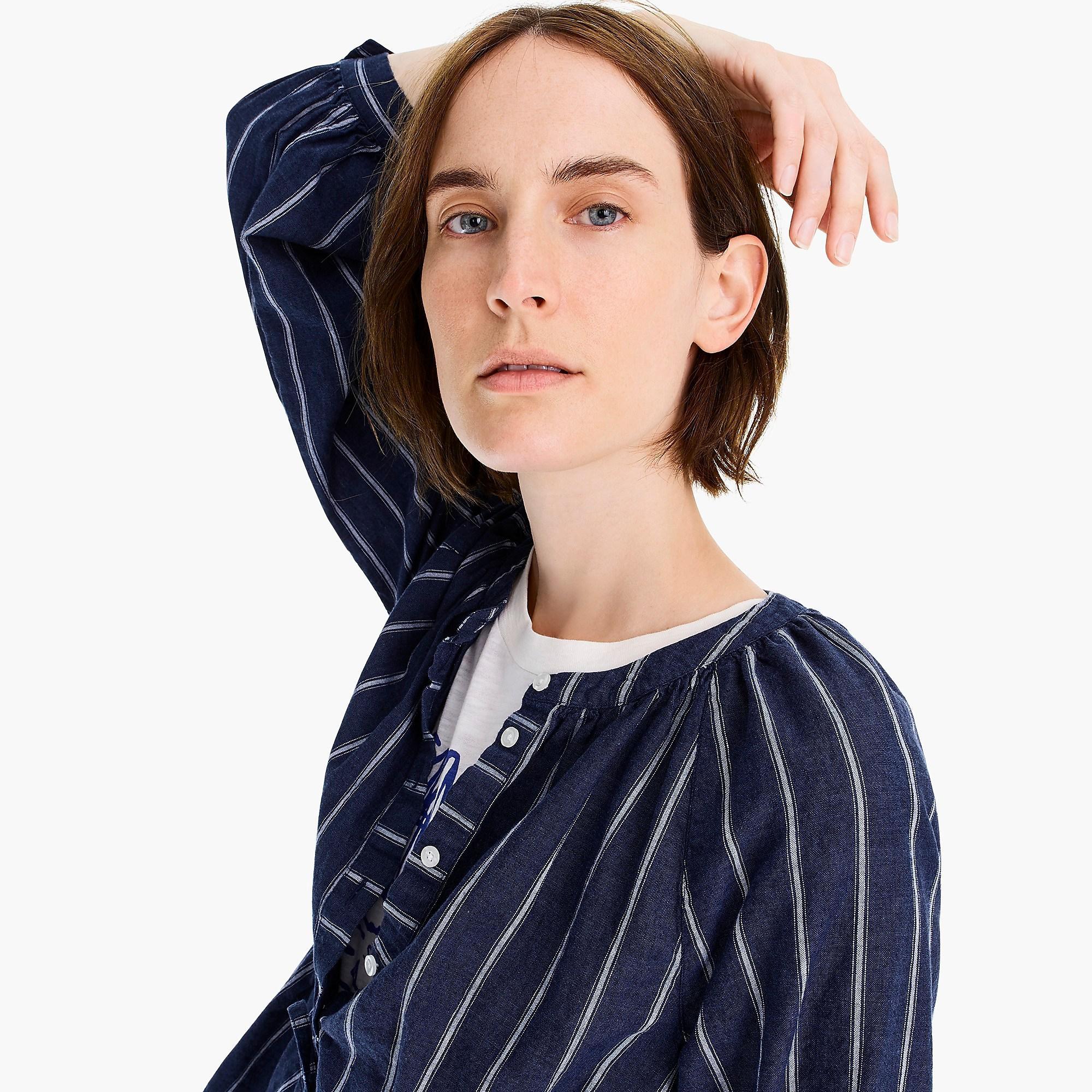 9316c623761a J.Crew Tie-waist Top In Indigo Gauze Stripe in Blue - Lyst