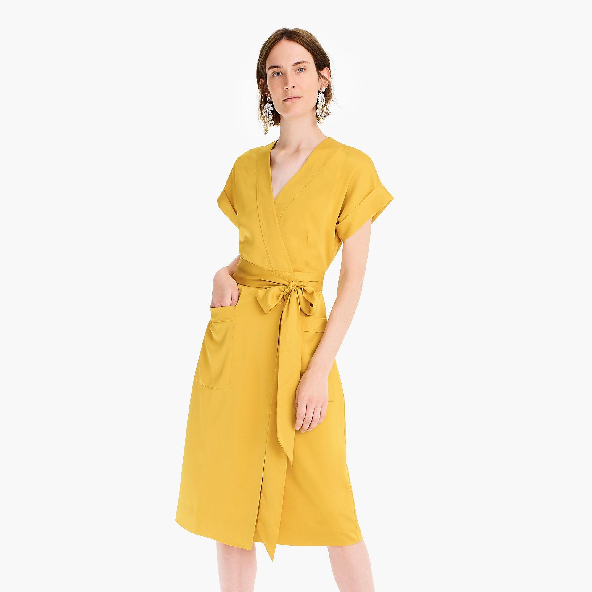 9e578abd4a10 J.Crew Short-sleeve Wrap Dress In Satin-back Crepe in Yellow - Save ...