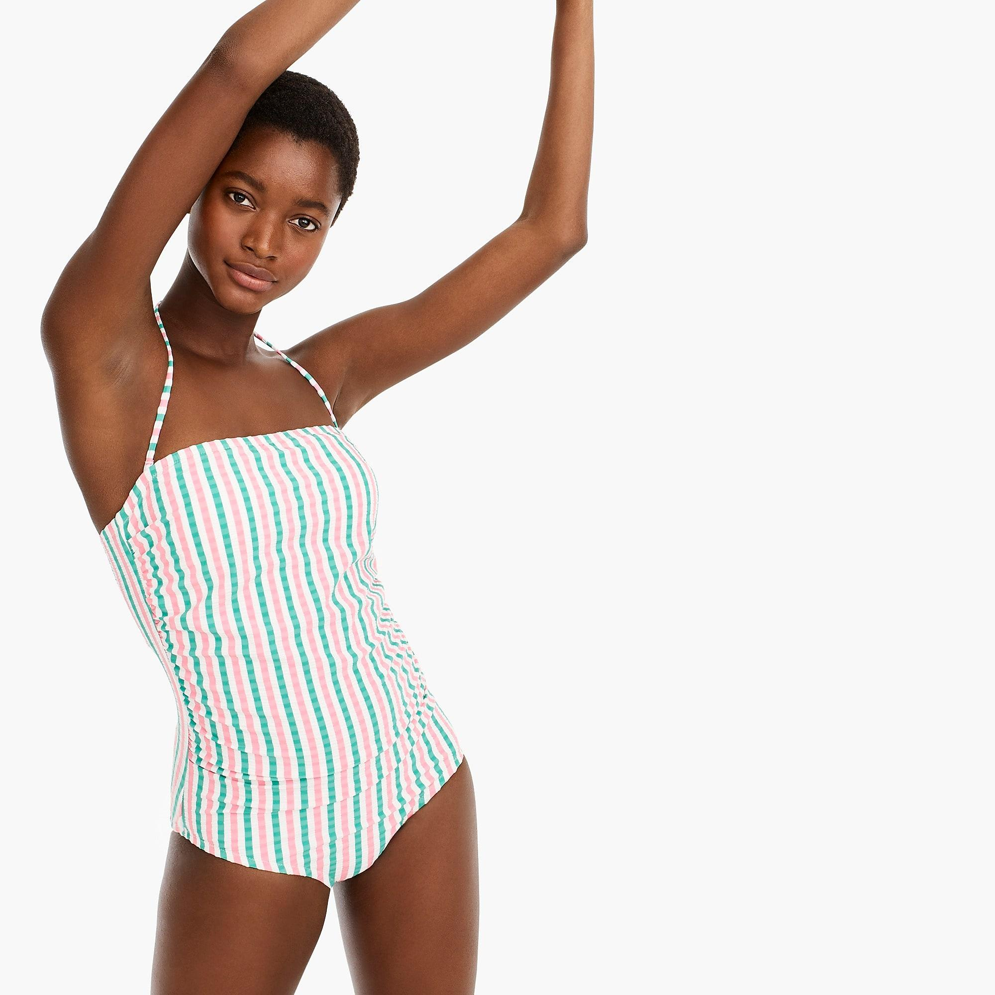 b7150ff83d J.Crew Ruched Bandeau One-piece Swimsuit In Suckered Contrast Stripe ...