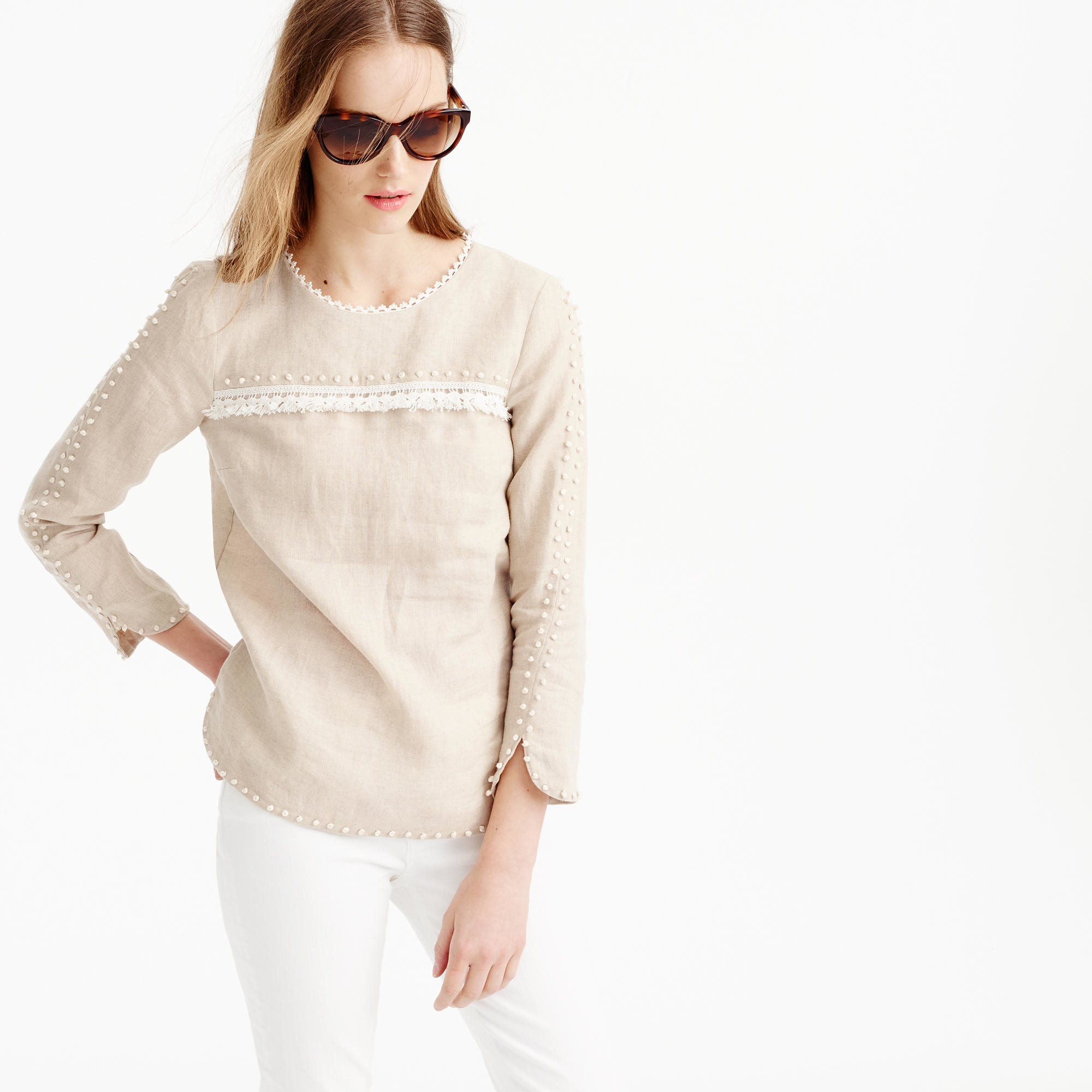 Petite embroidered linen top in natural lyst for Jcrew com