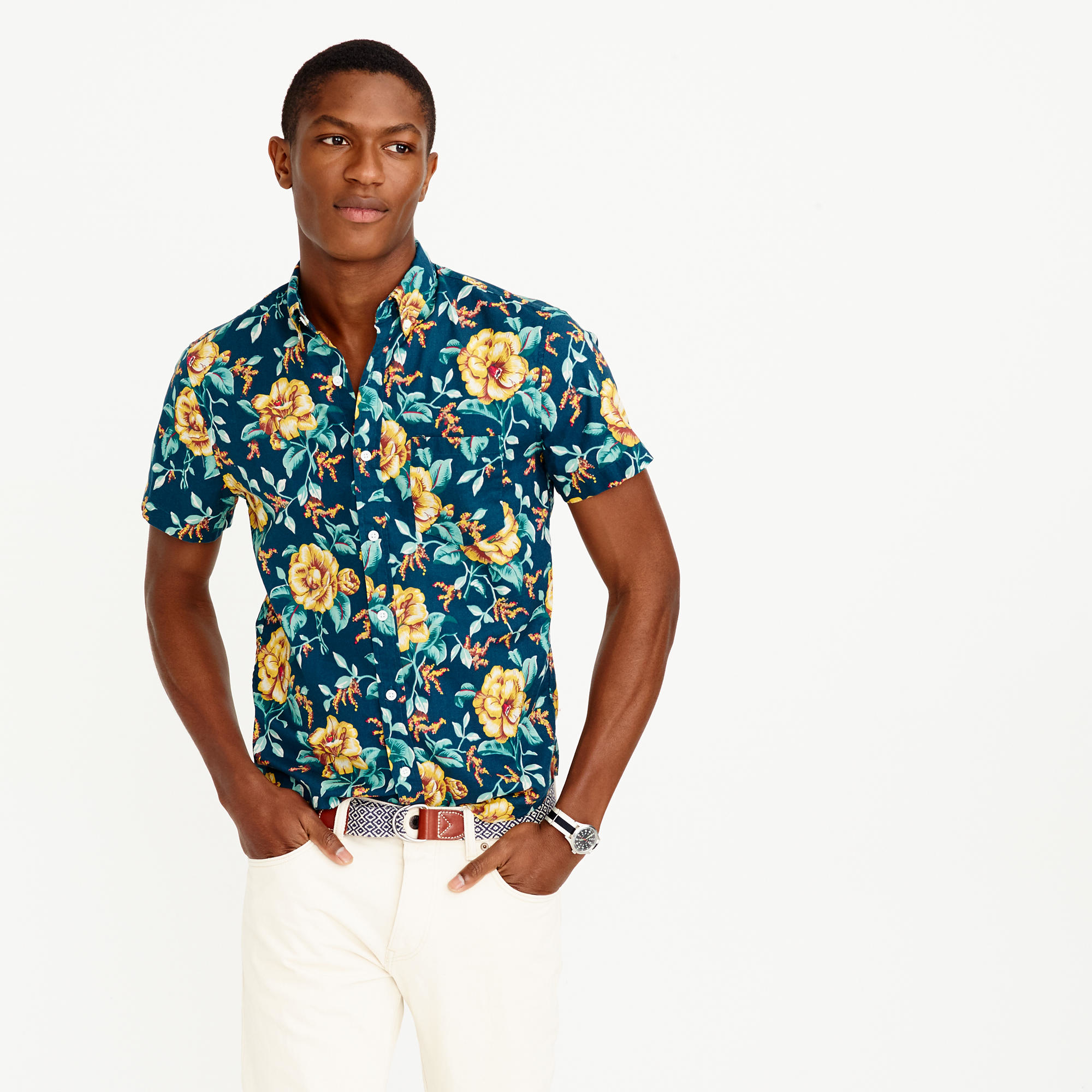 Short sleeve shirt in blue floral in blue for men for Blue floral shirt mens