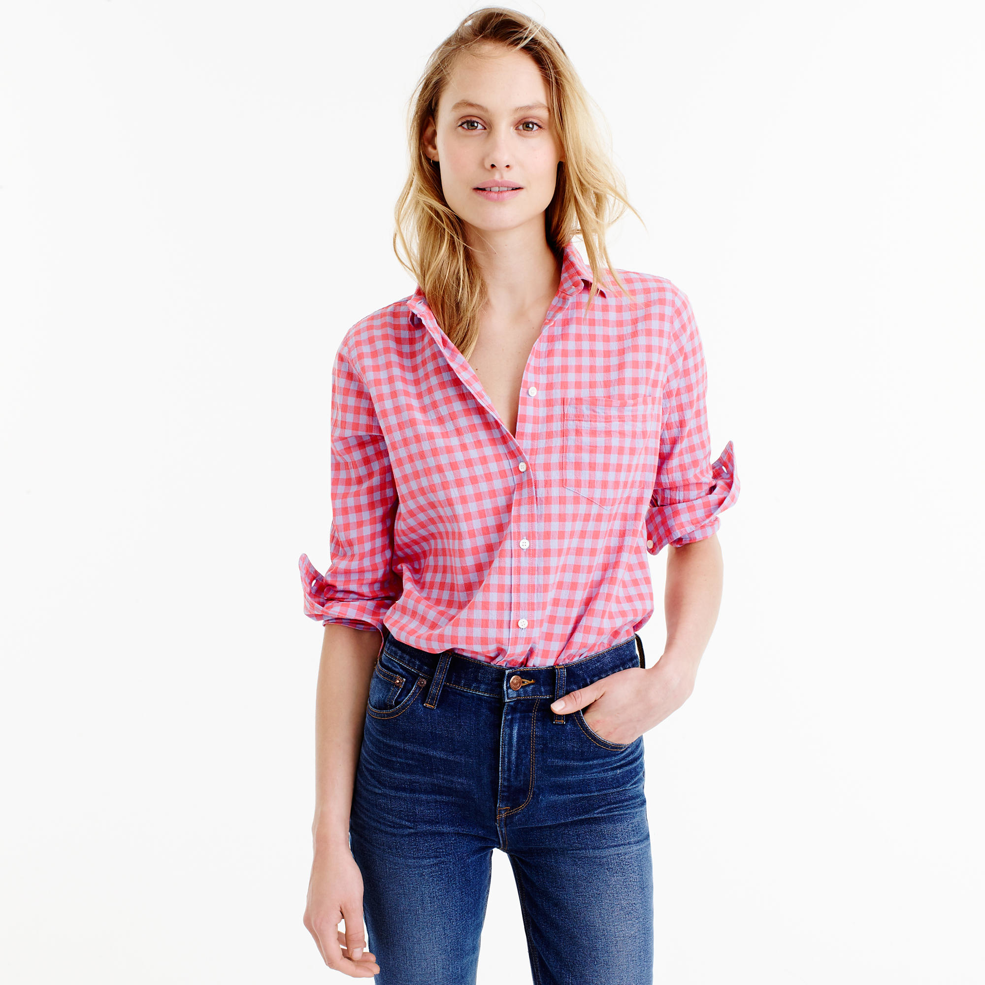 Boy shirt in two tone crinkle gingham in pink lyst for Pink gingham shirt ladies