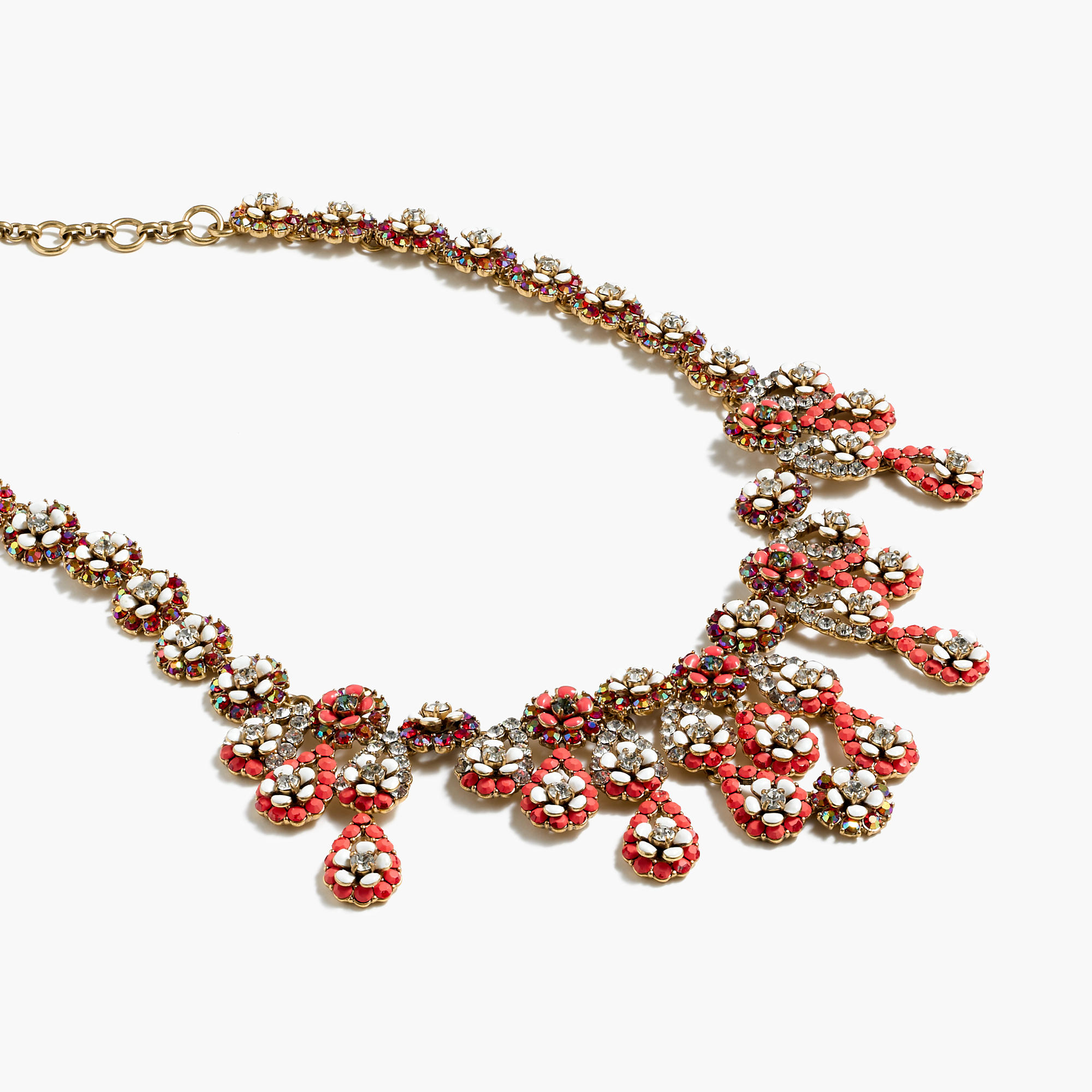 ba04ac35e J.Crew Floral Chandelier Necklace in Orange - Lyst