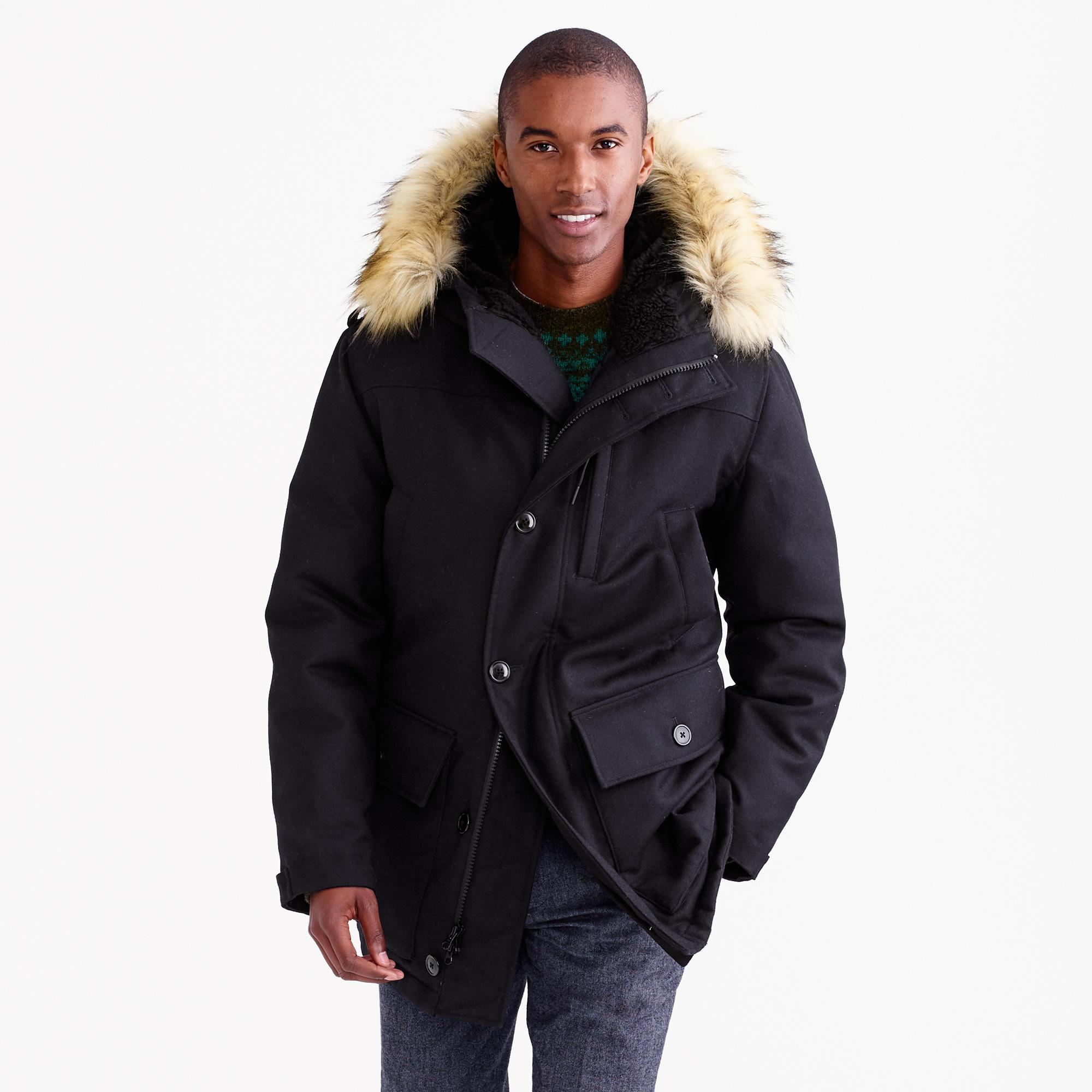 J.crew Nordic Down Parka In Wool in Blue for Men