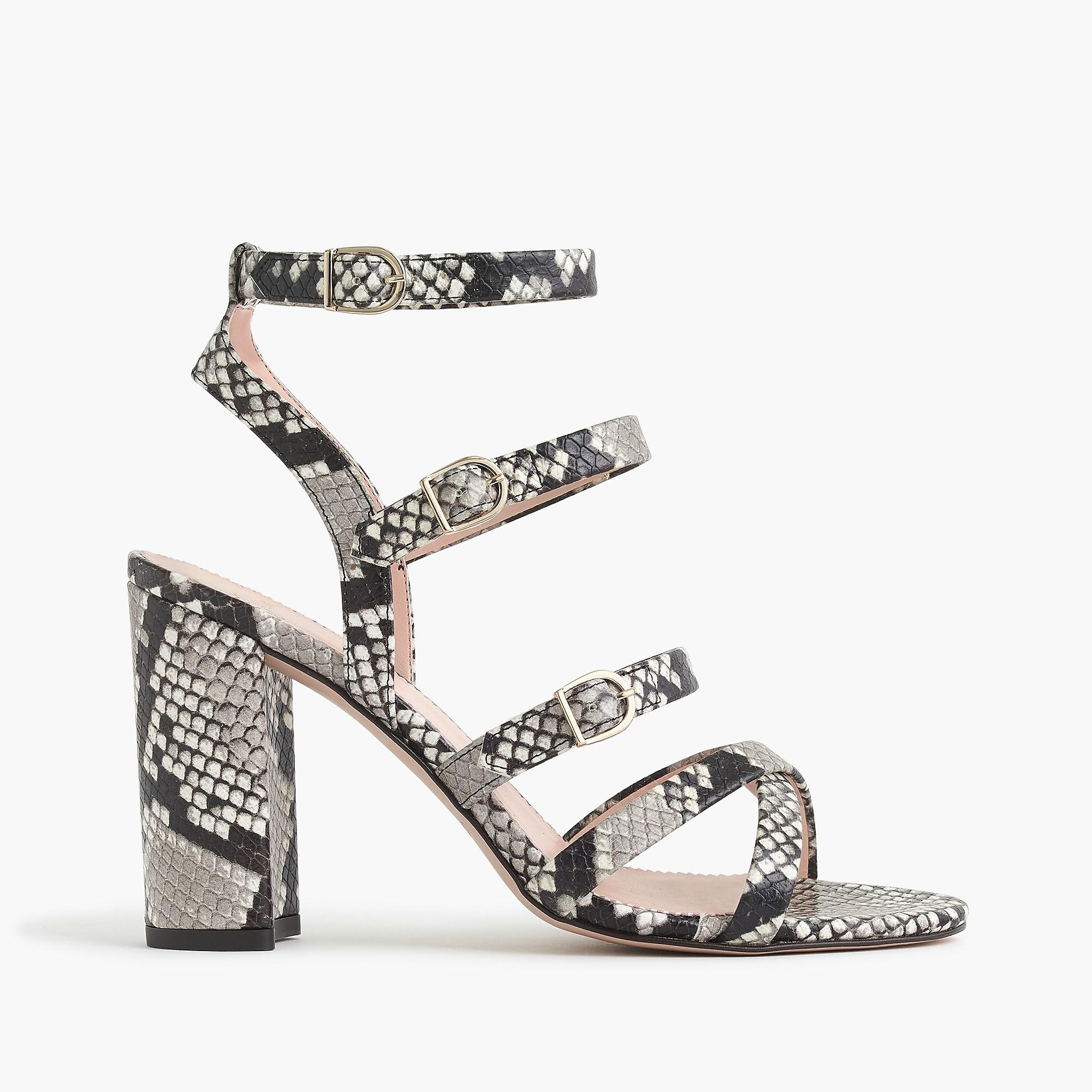 2c171f7a9ea J.Crew - Multicolor Buckled High-heel Sandals In Faux Snakeskin - Lyst.  View fullscreen