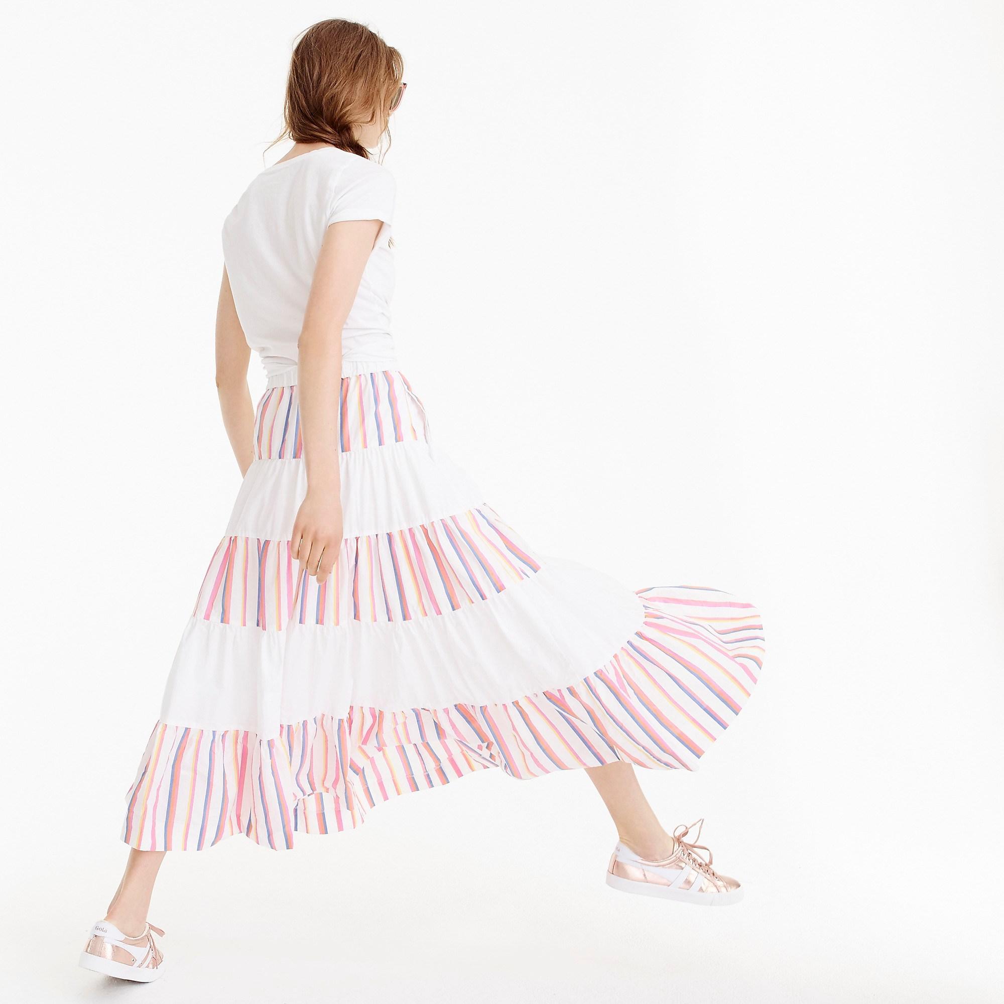 d50342c1f J.Crew Tiered Midi Skirt In Sorbet Stripe in Pink - Lyst