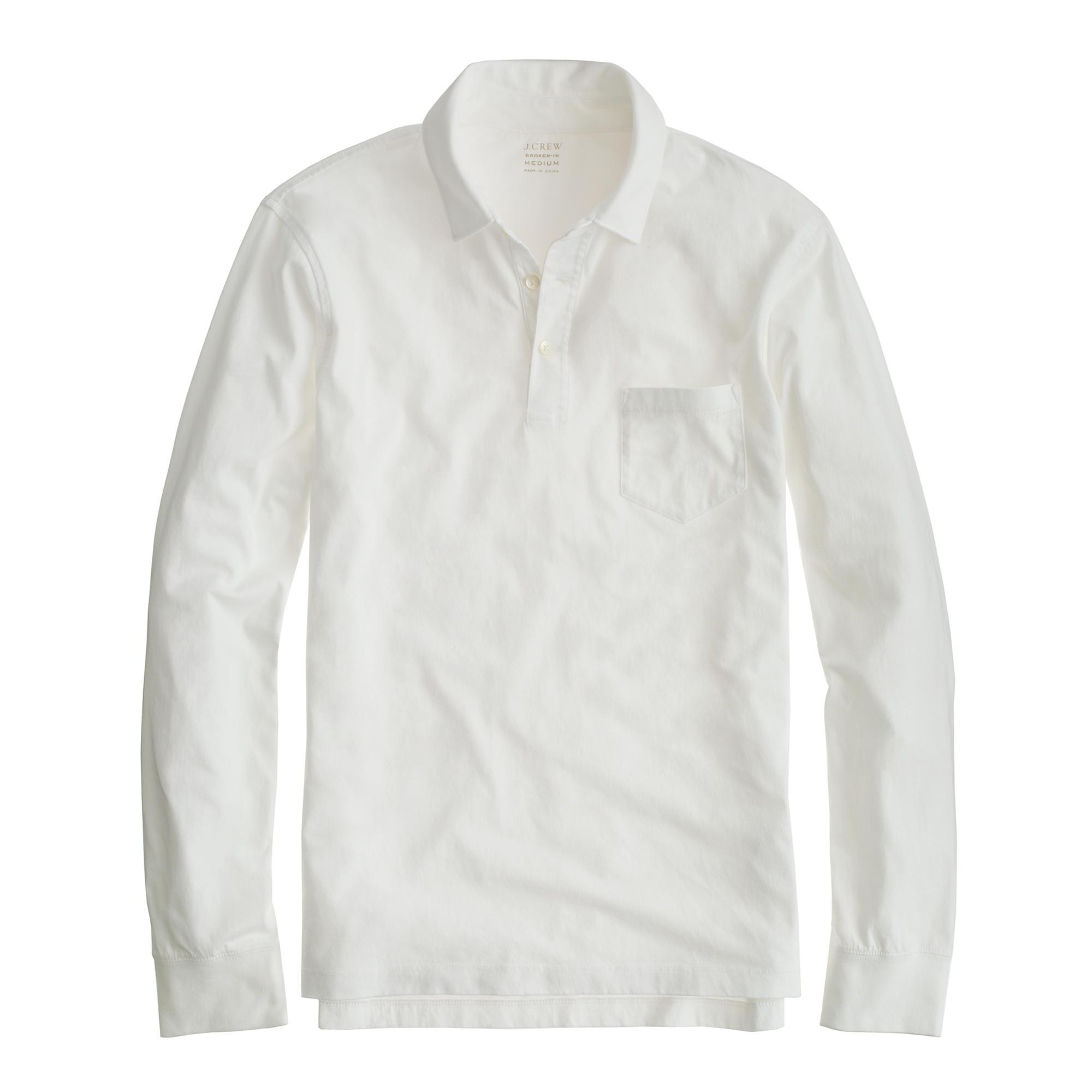 268a5c589f1d J.Crew Tall Broken-in Long-sleeve Pocket Polo Shirt in White for Men ...