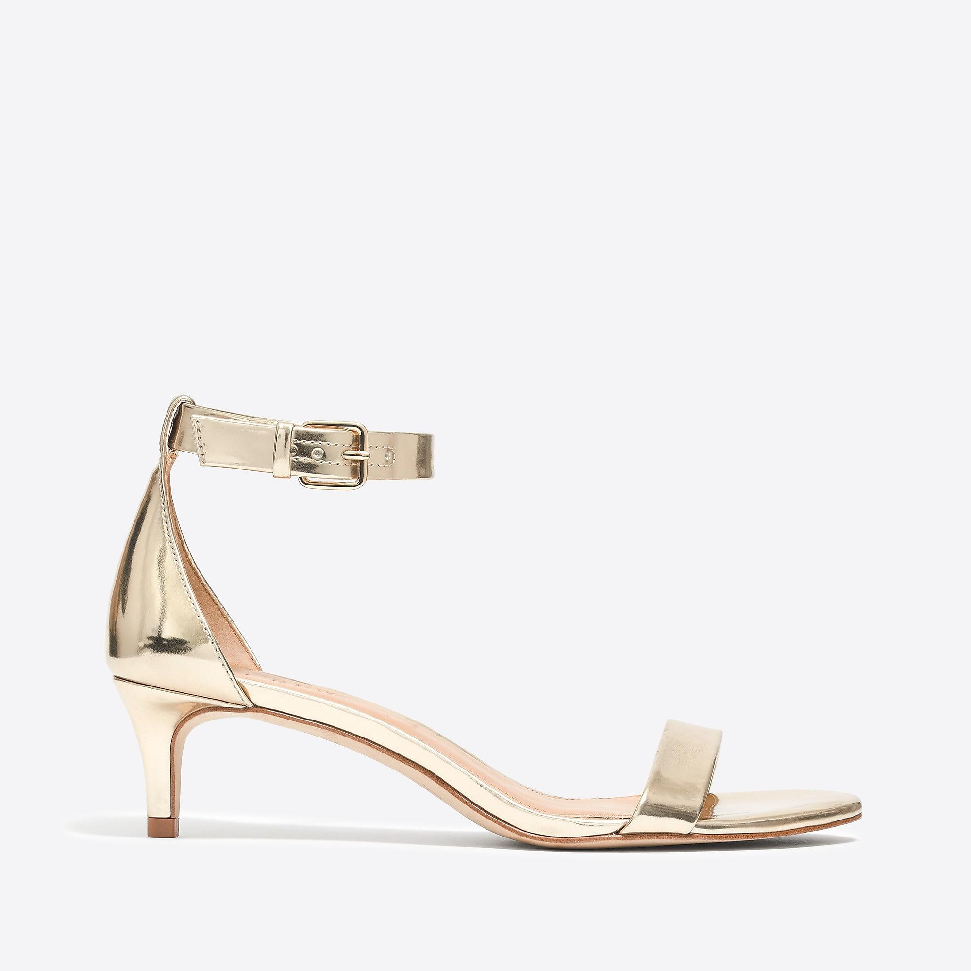 3a2f541fae04 J.Crew - Metallic Kitten-heel Sandals - Lyst. View fullscreen