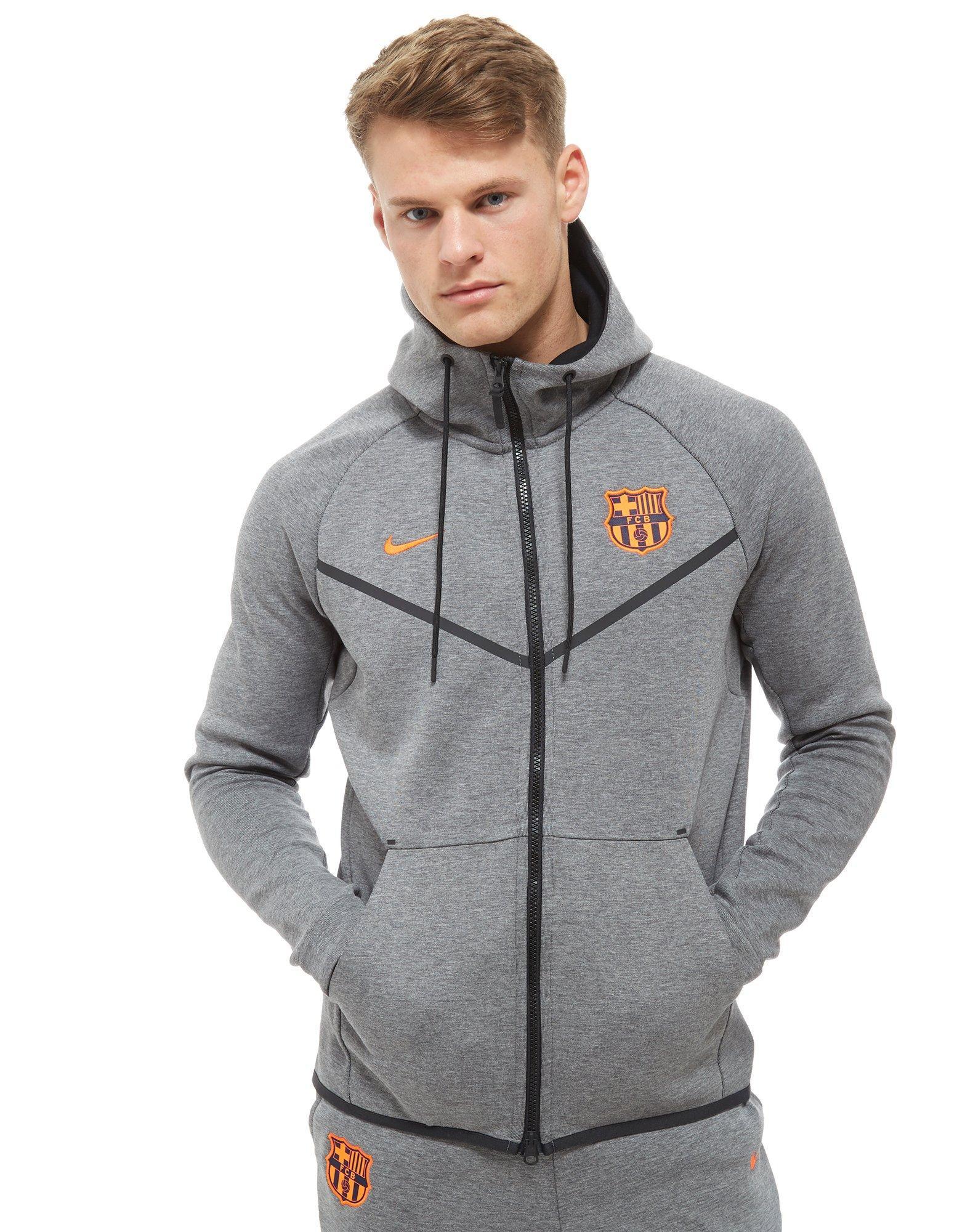 Nike Fc Barcelona Tech Hoodie in Gray for Men - Lyst 21499b7c66a4