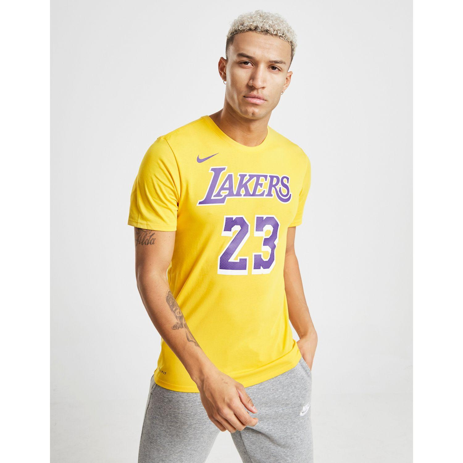 f8be08e50b0ceb Nike Nba Los Angeles Lakers Lebron James #23 T-shirt in Yellow for ...